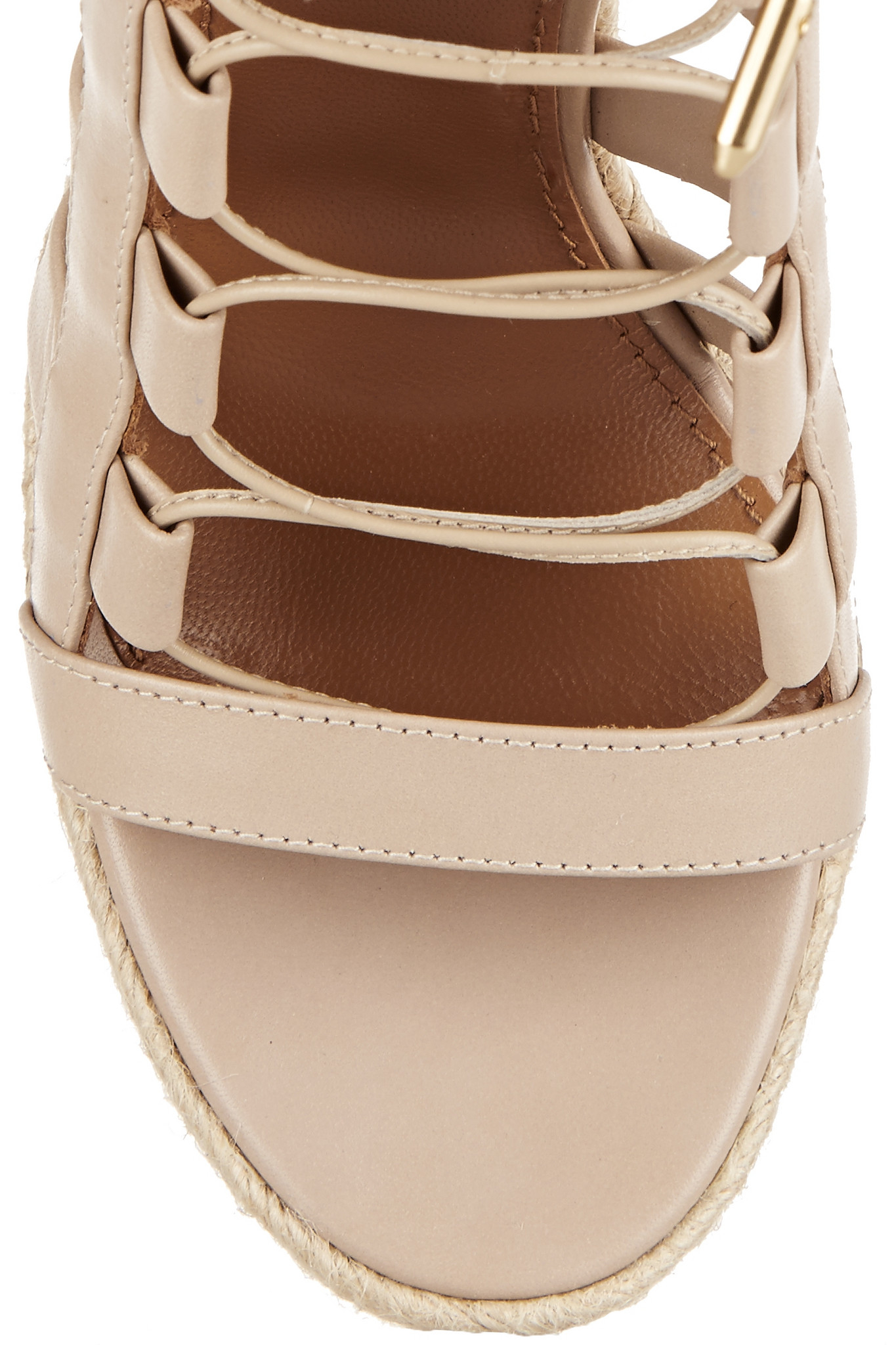 Aquazzura Amazon Leather, Rope And Wood Wedge Sandals in ...