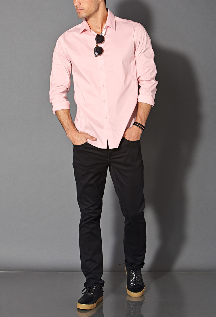 Forever 21 Fitted Dress Shirt in Pink for Men | Lyst