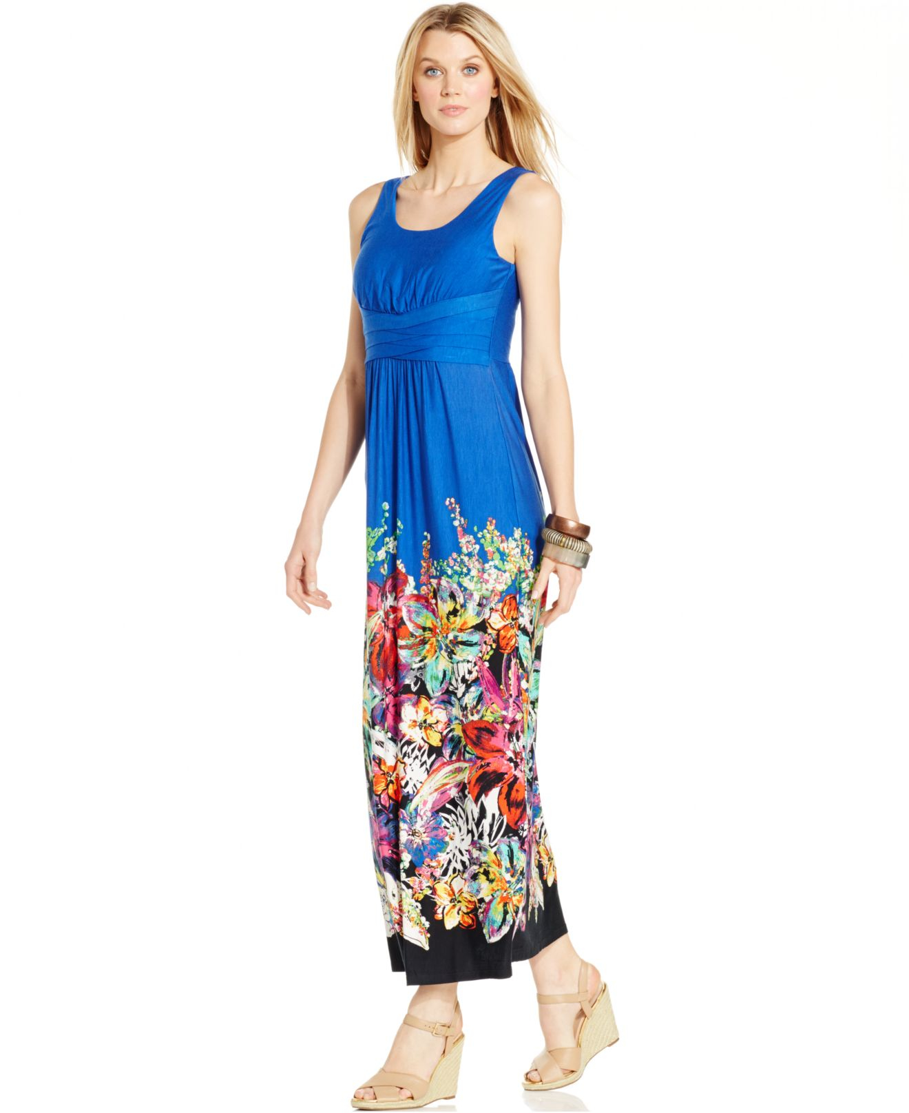 807d51b1a20 Lyst - Spense Petite Placed-floral Maxi Dress in Blue