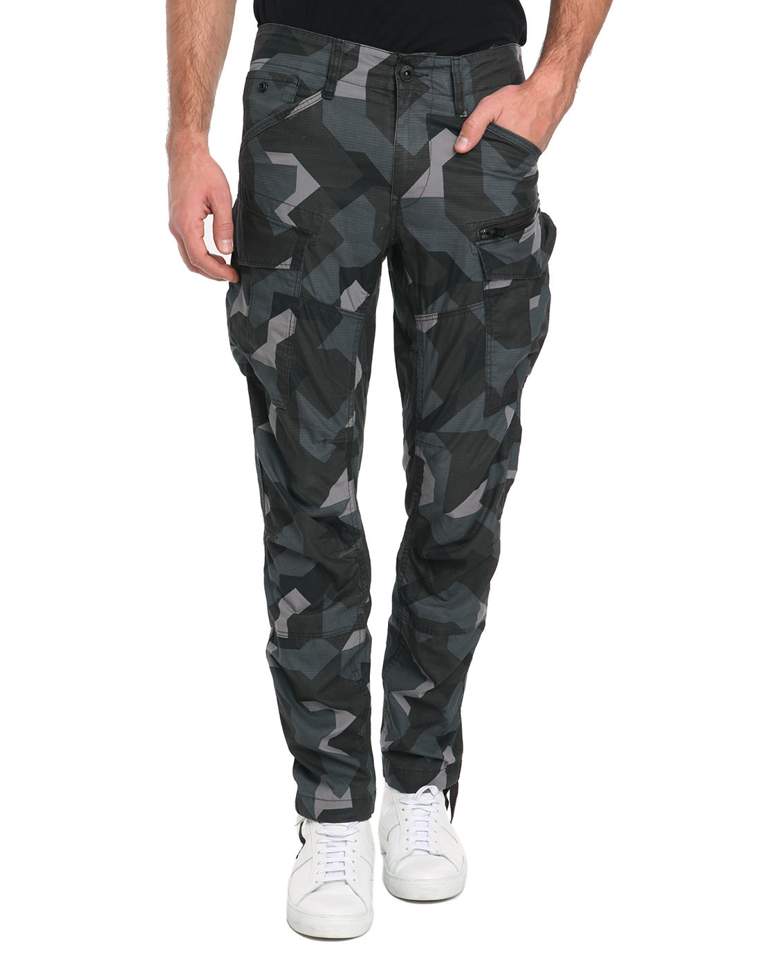 g star raw rovic zip 3d tapered camo cargo trousers in green for men lyst. Black Bedroom Furniture Sets. Home Design Ideas