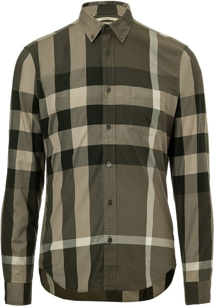 Burberry brit cotton plaid fred shirt in green for men lyst for Burberry brit plaid shirt