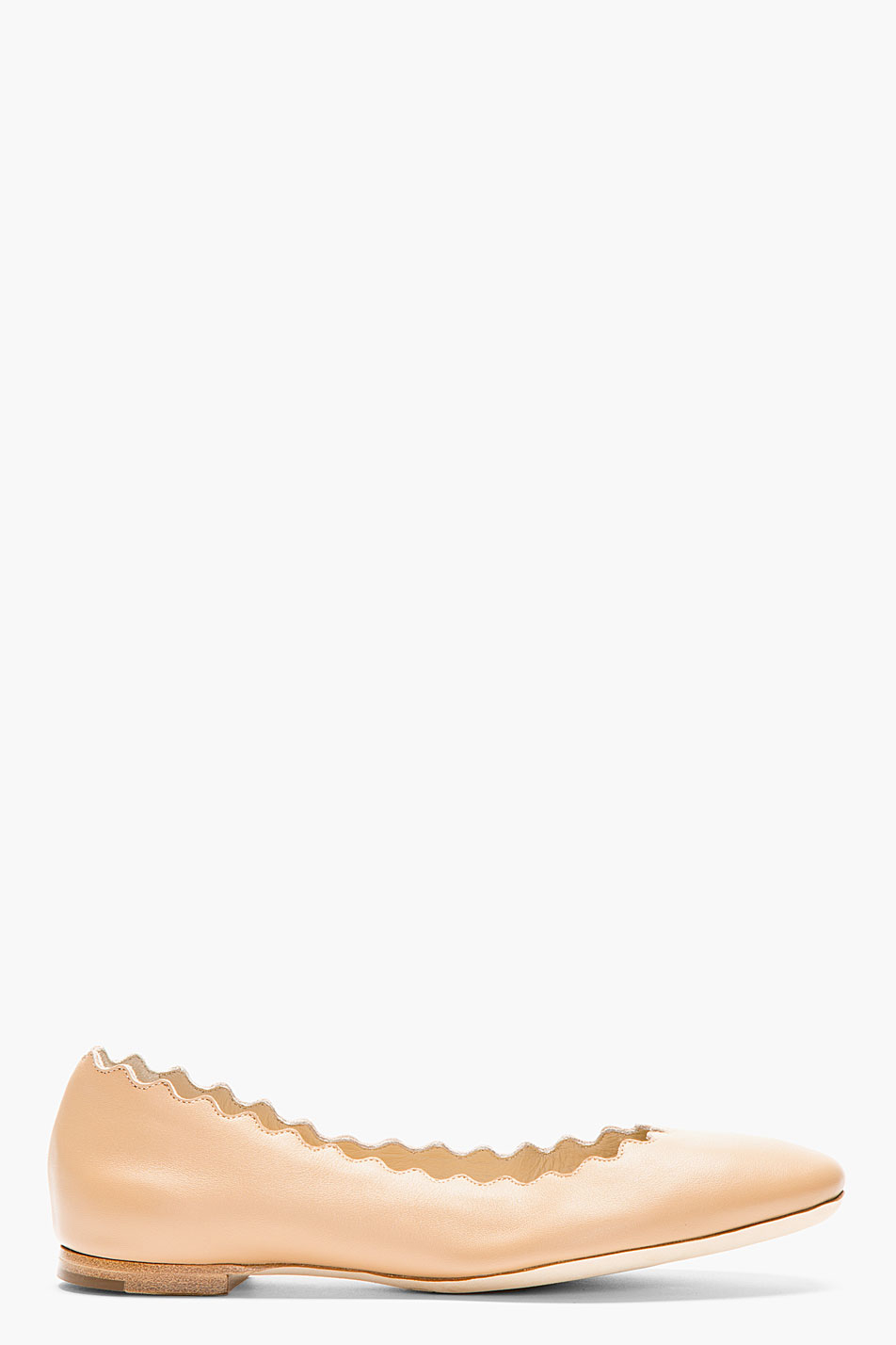 Chlo 233 Nude Leather Scalloped Ballerina Flats In Natural Lyst