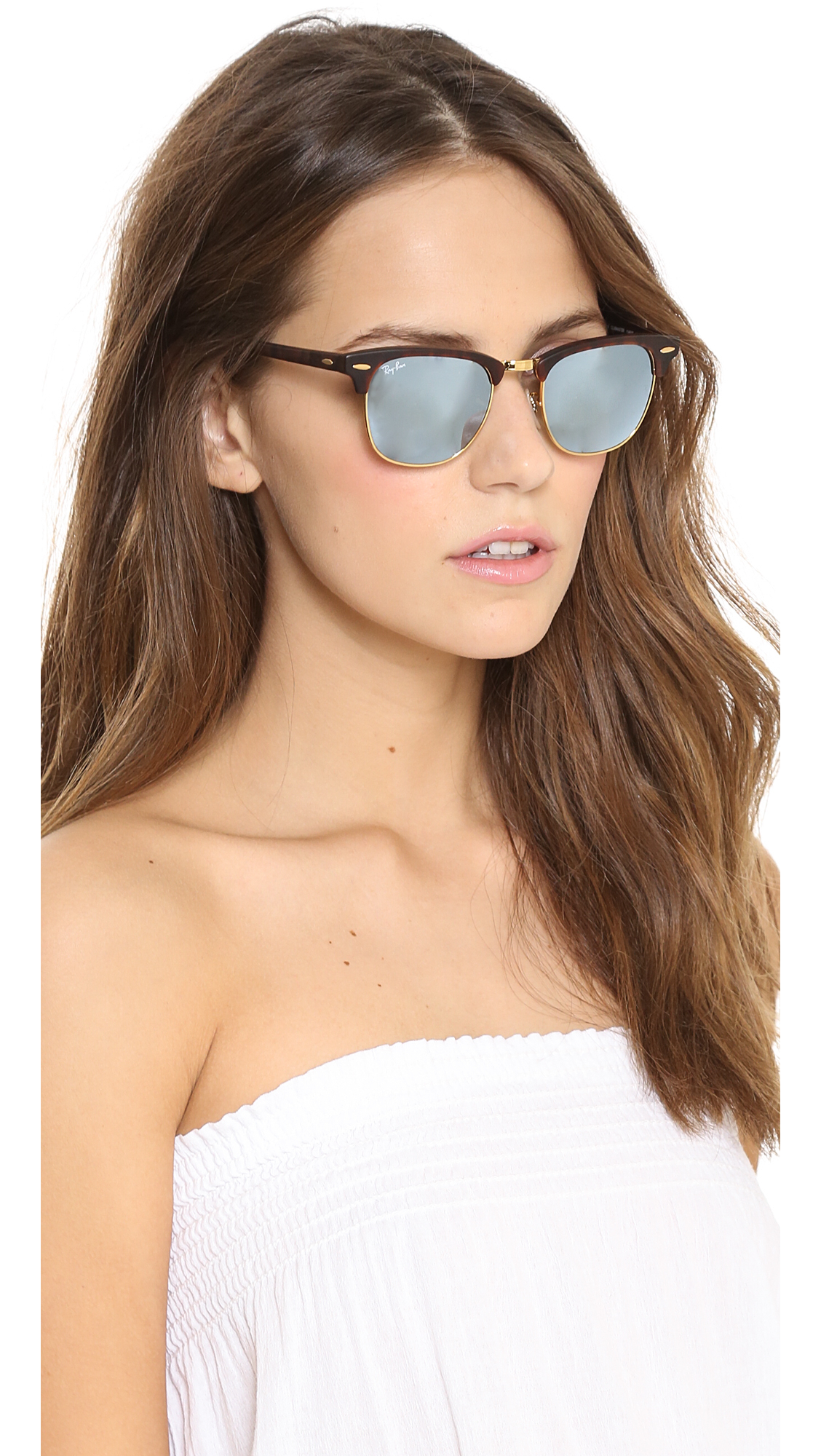 Lyst Ray Ban Mirrored Clubmaster Sunglasses Sand