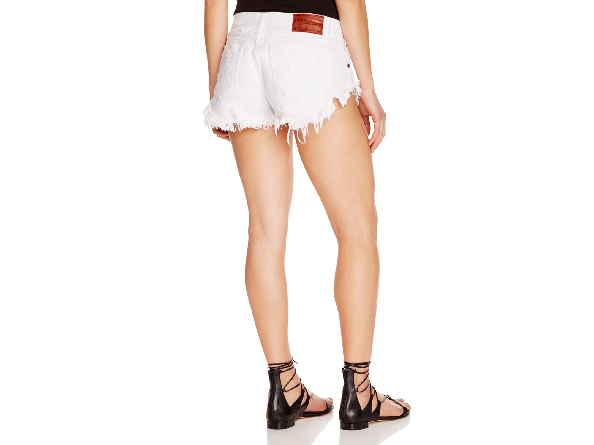One teaspoon Bonitas Frayed Denim Shorts In White Beauty in White ...