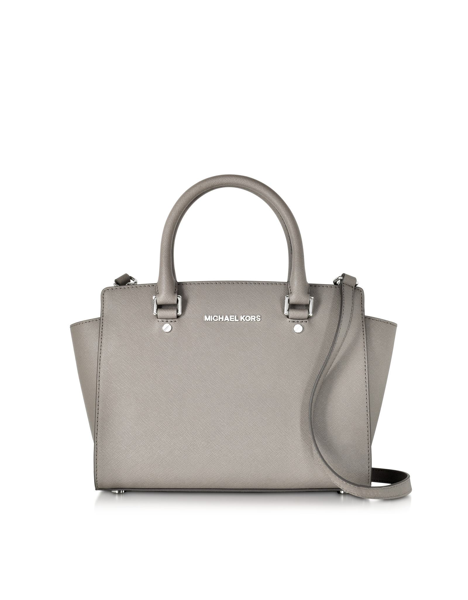 michael kors pearl gray saffiano leather selma medium t zip satchel in white lyst