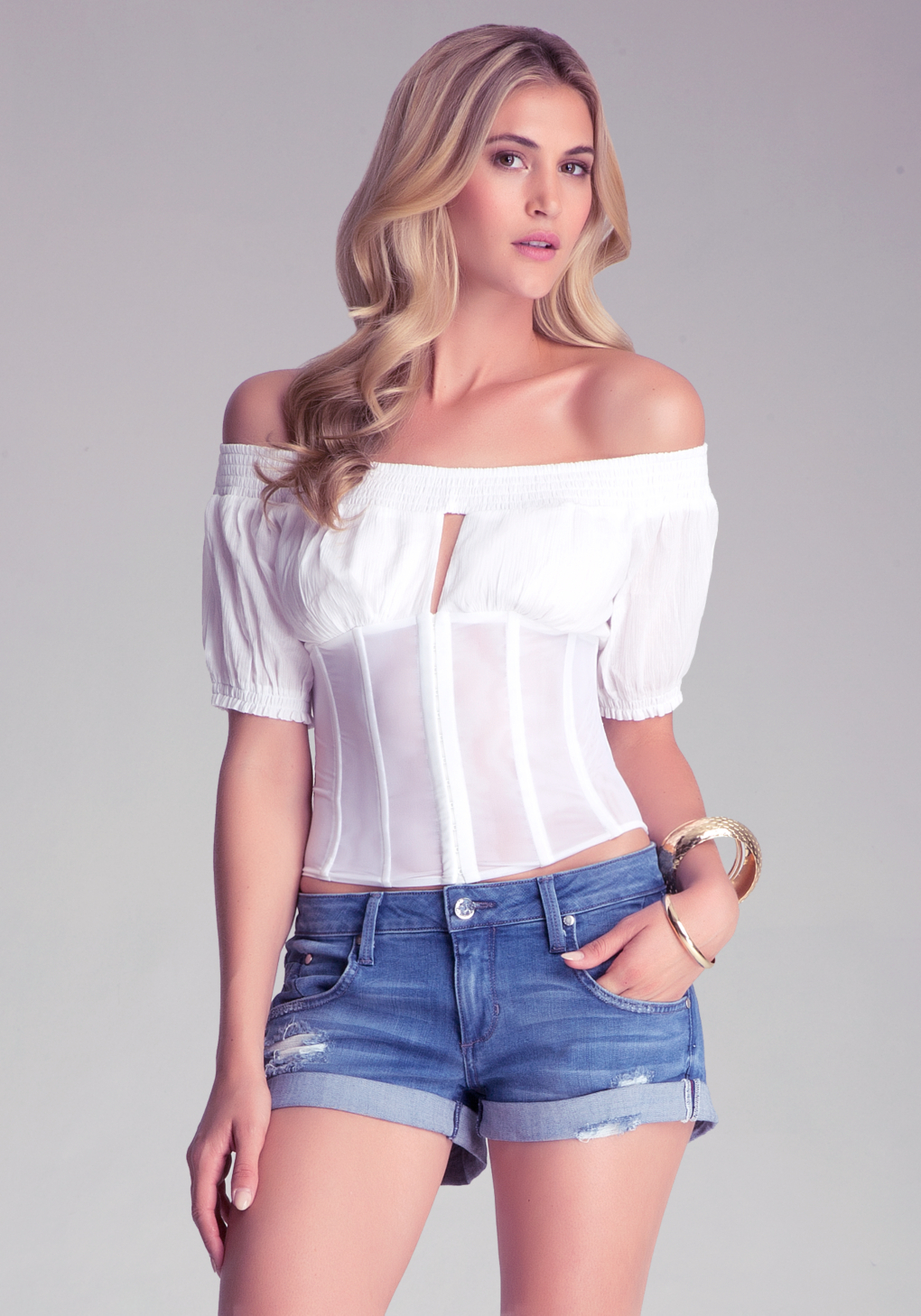 Bebe Off The Shoulder Corset Top in White | Lyst