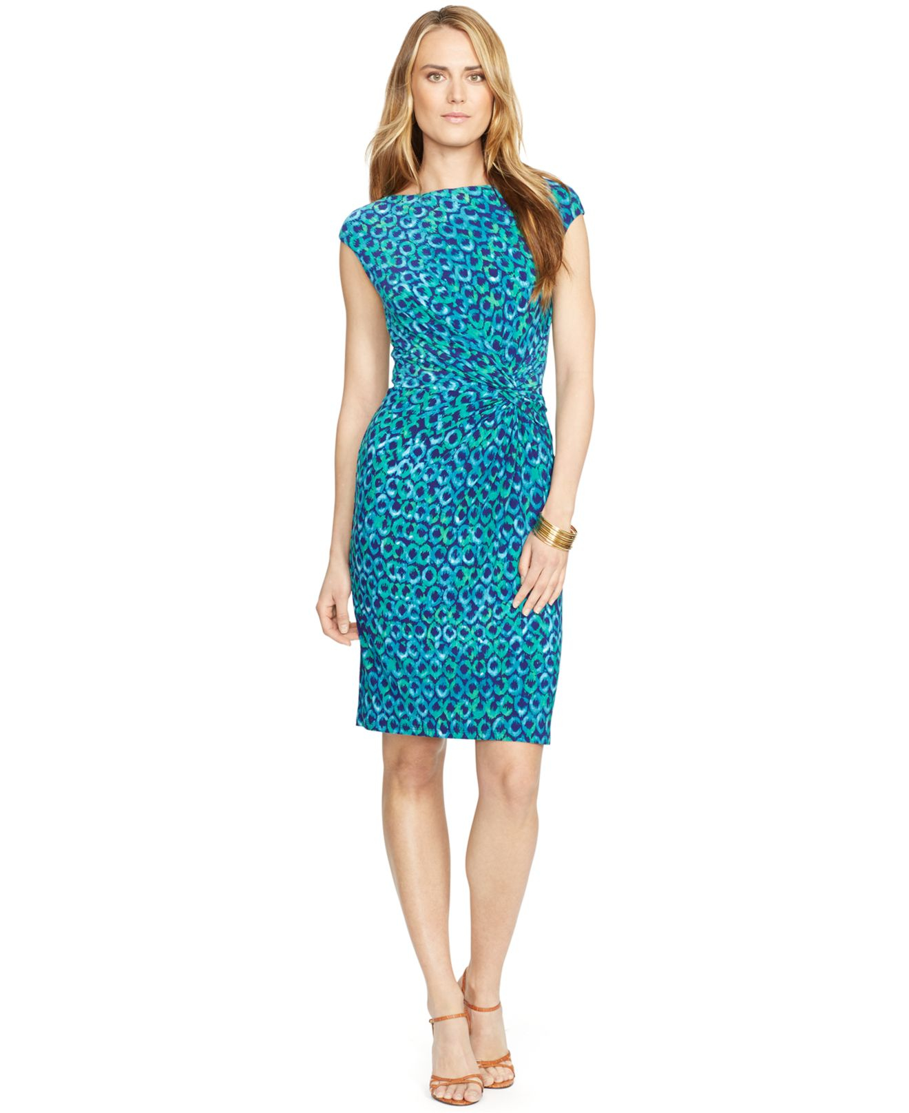 Lauren Ralph Lauren Väskor : Lyst lauren by ralph printed jersey dress in blue