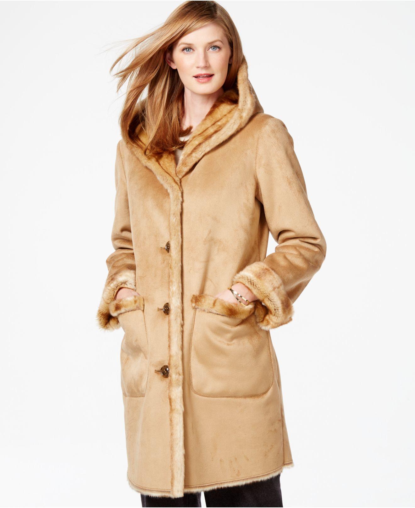Jones new york Faux-shearling Coat in Natural | Lyst