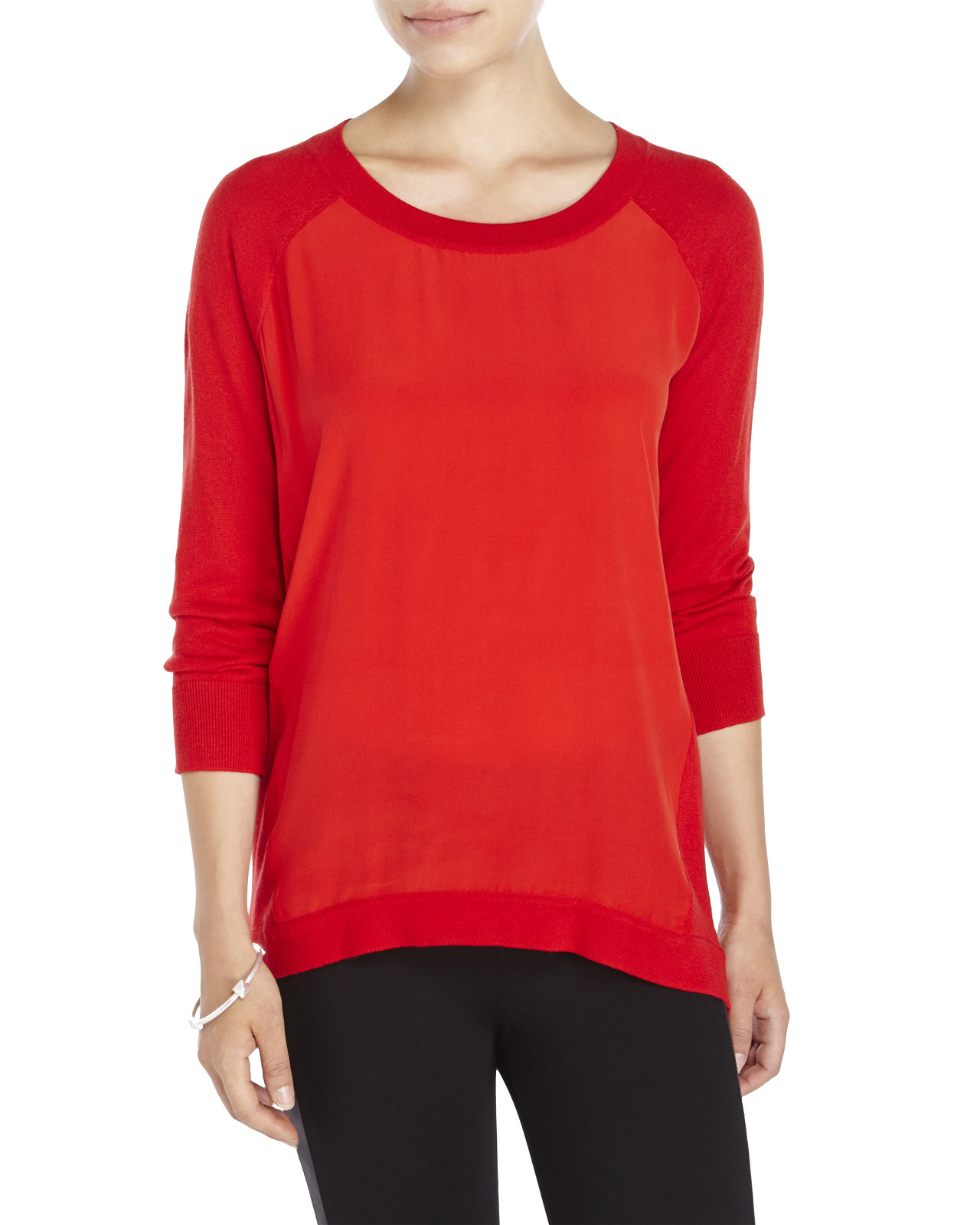 Magaschoni Silk & Cashmere Sweater in Red | Lyst