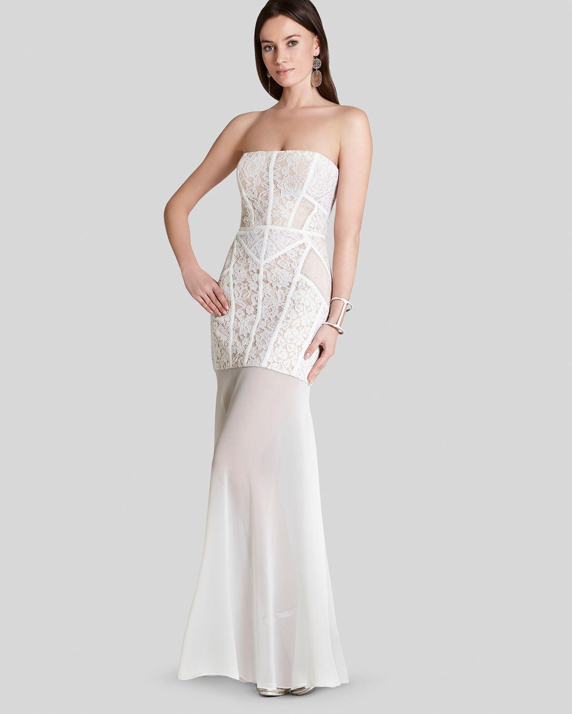 Bcbgmaxazria Bcbg Max Azria Gown Vivienne Strapless Lace Illusion Hem in White | Lyst
