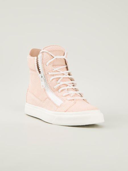 giuseppe zanotti textured hitop sneaker in pink pink