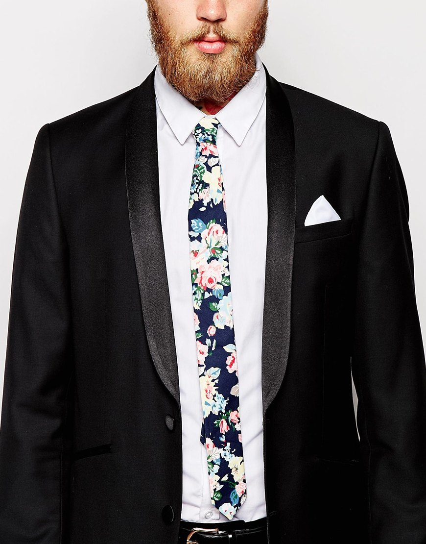 39cd7185a447 ASOS Slim Floral Tie And White Pocket Square Pack in Blue for Men - Lyst