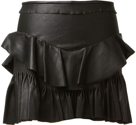 Isabel Marant Black Ruffle Détail Leather Skirt in Black - Lyst