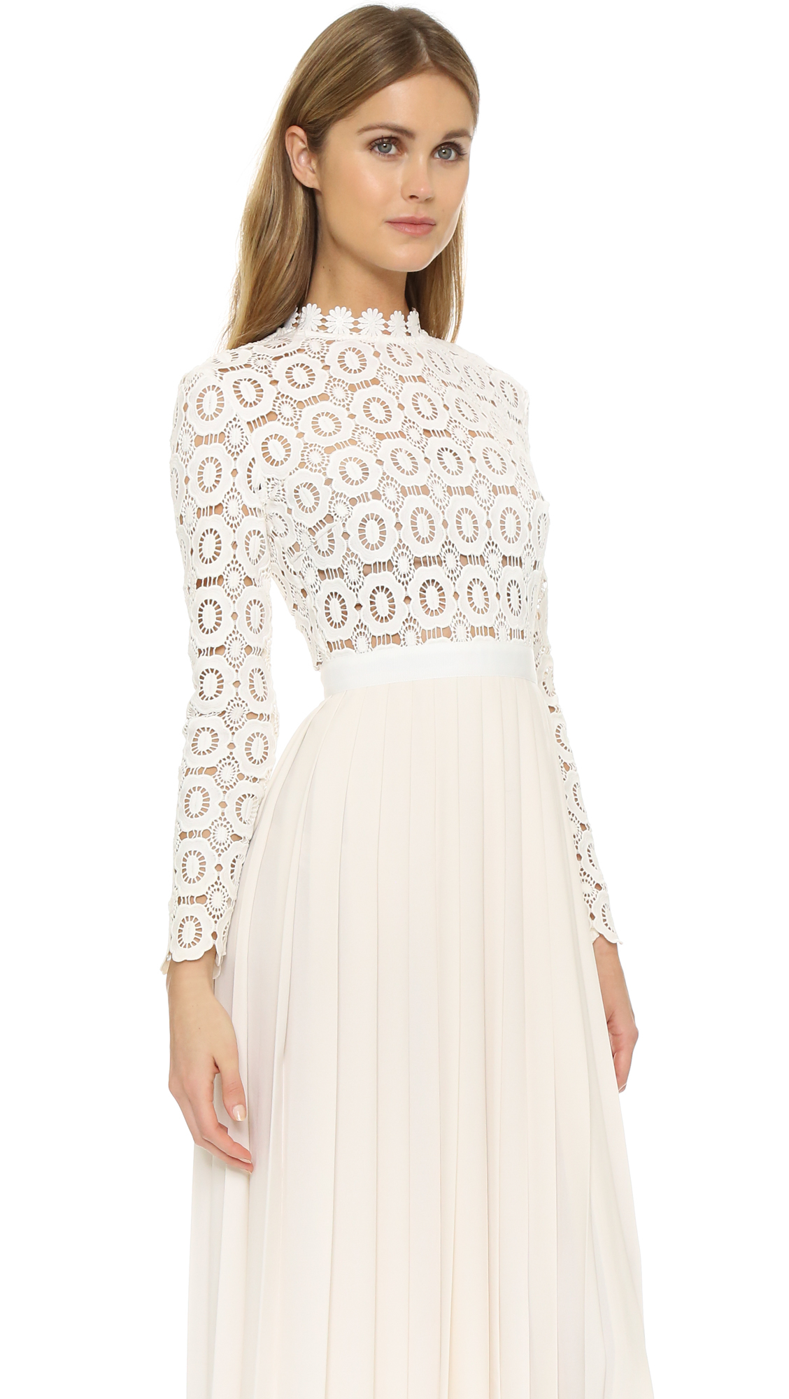 Crochet Dress : Self-portrait Pleated Crochet Crepe Maxi Dress in Natural Lyst