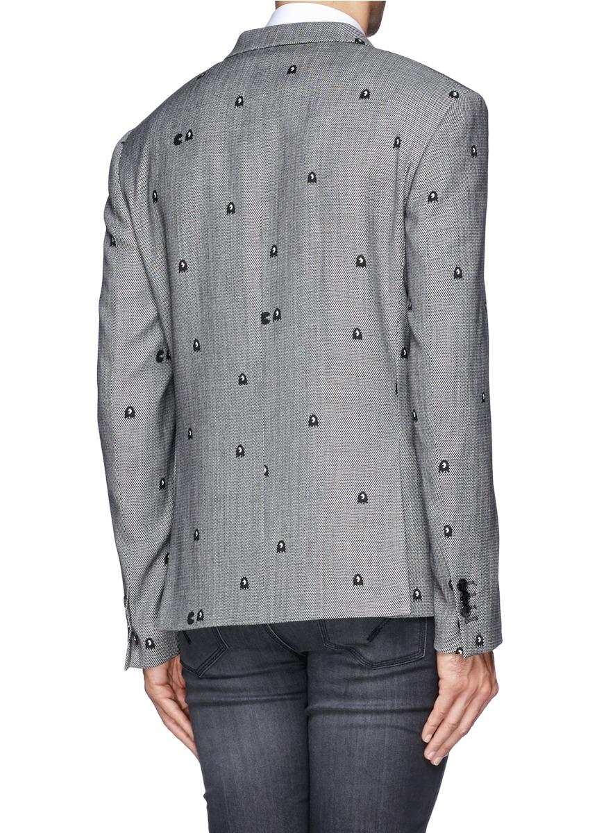 Neil Barrett Pac Man Slim Fit Blazer In Gray For Men Lyst