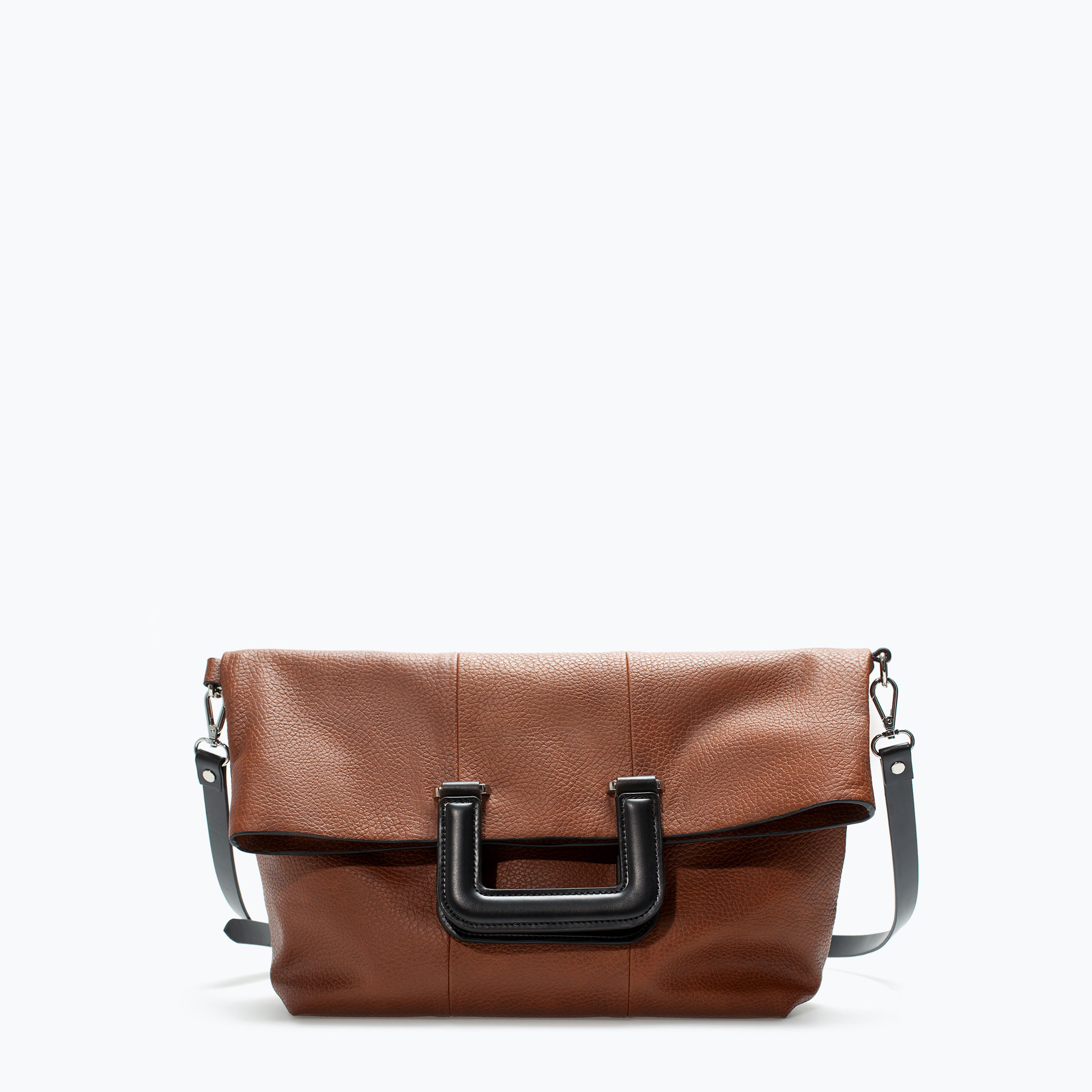 Zara Shopper Bag With Square Handle In Brown Leather Lyst