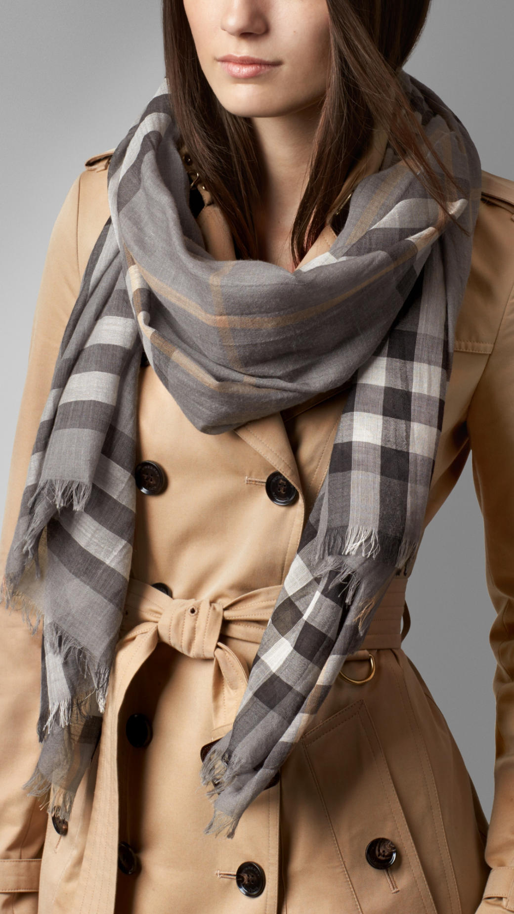 a6e383c8273d Lyst - Burberry Check Wool Silk Scarf in Gray