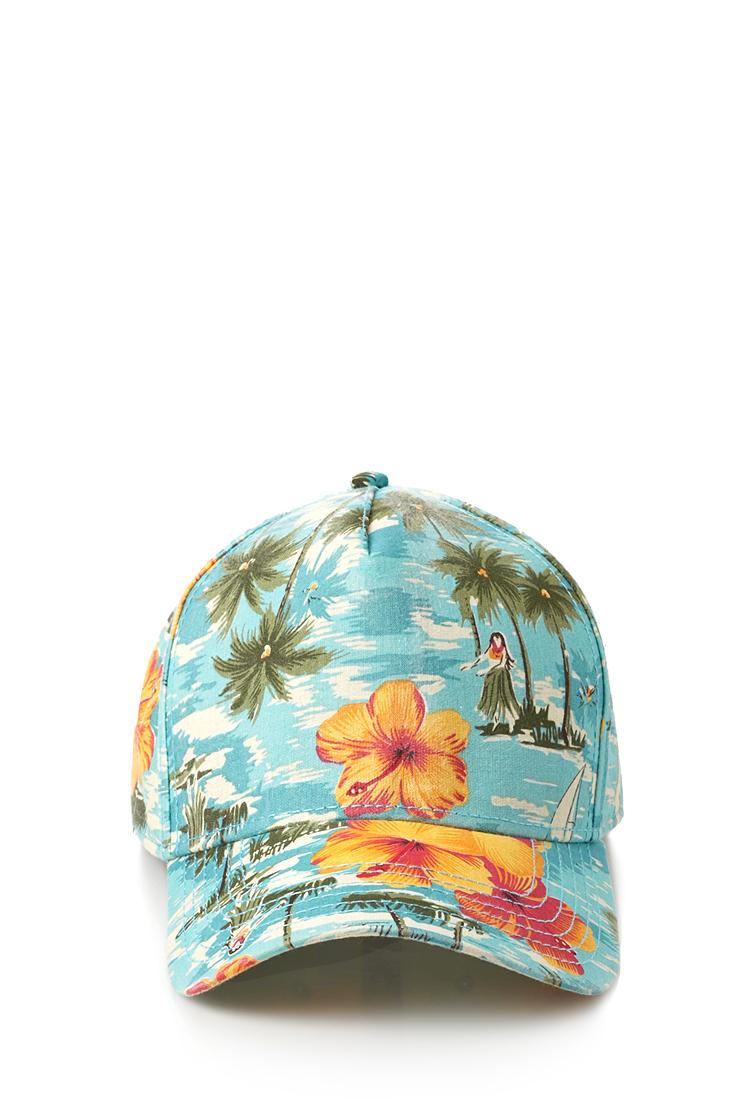 Lyst - Forever 21 Tropical Print Baseball Cap in Blue for Men 8d649e55042
