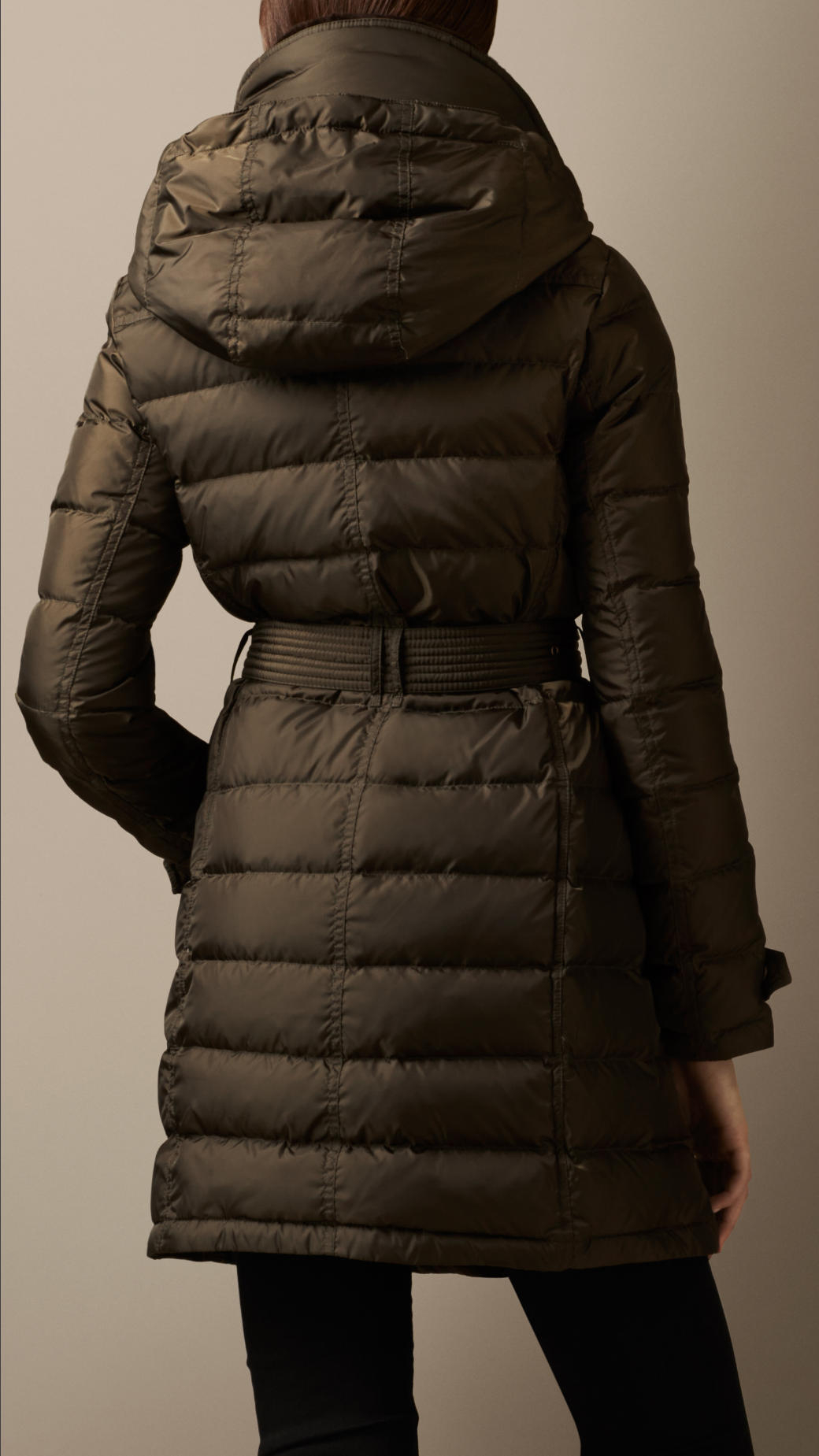 Burberry Down-filled Coat With Shearling Collar in Natural | Lyst