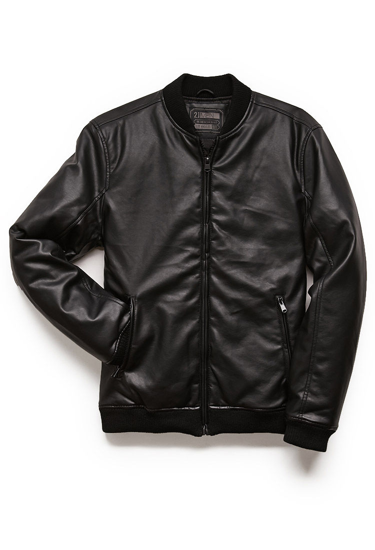 Forever 21 Faux Leather Bomber Jacket in Black for Men | Lyst