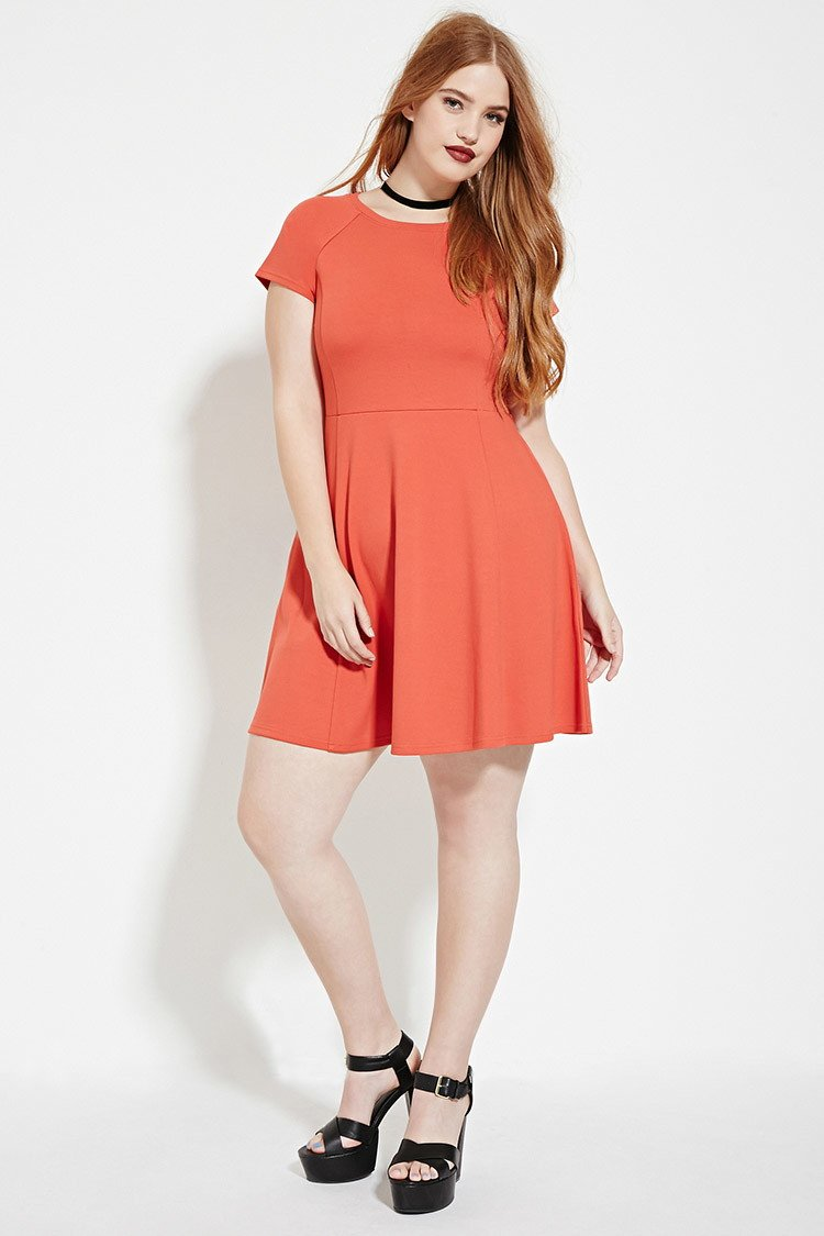 4976f4c07aa Forever 21 Plus Size Fit And Flare Dress in Orange - Lyst
