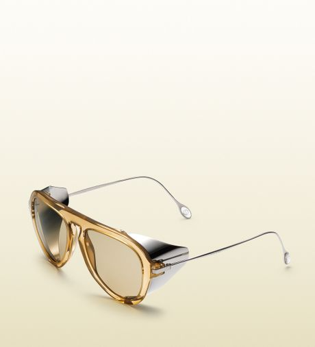 Gucci Gold Sunglasses Men Gold For Men Beige Gucci
