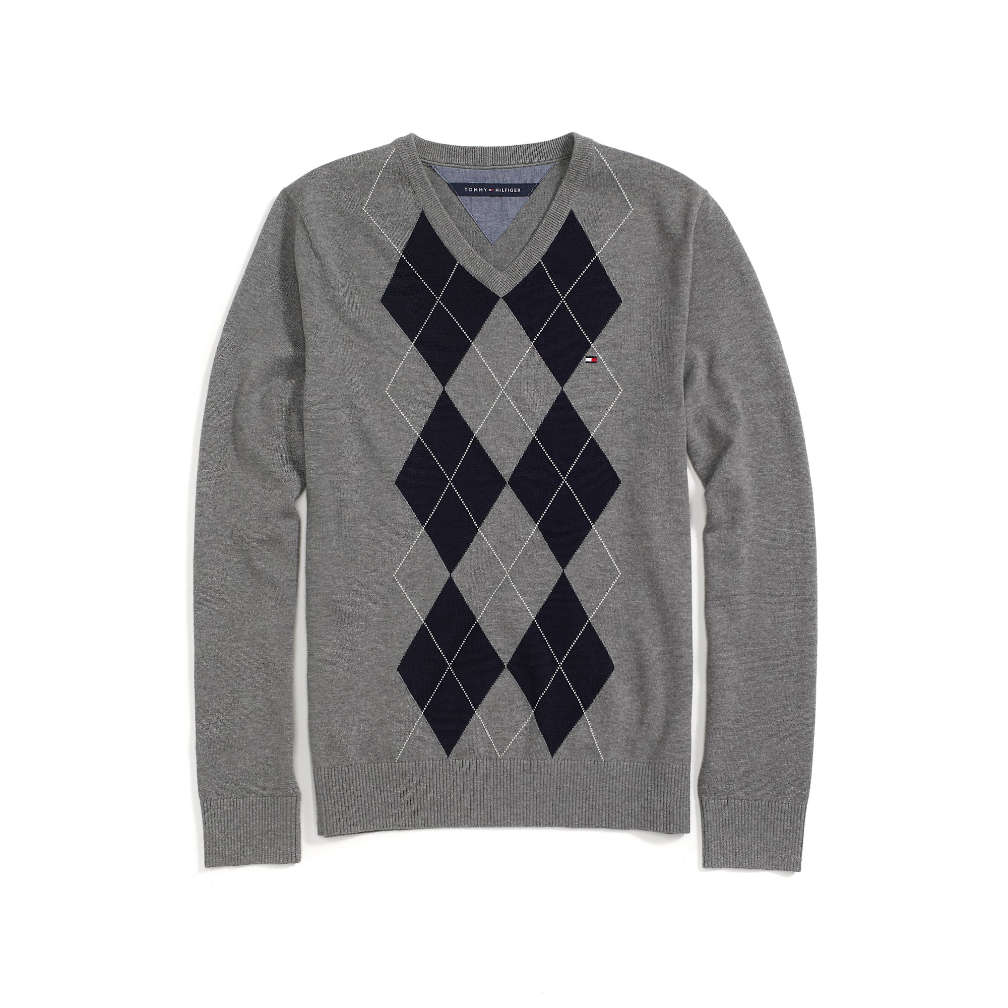 Tommy Hilfiger V Neck Argyle Sweater In Gray For Men