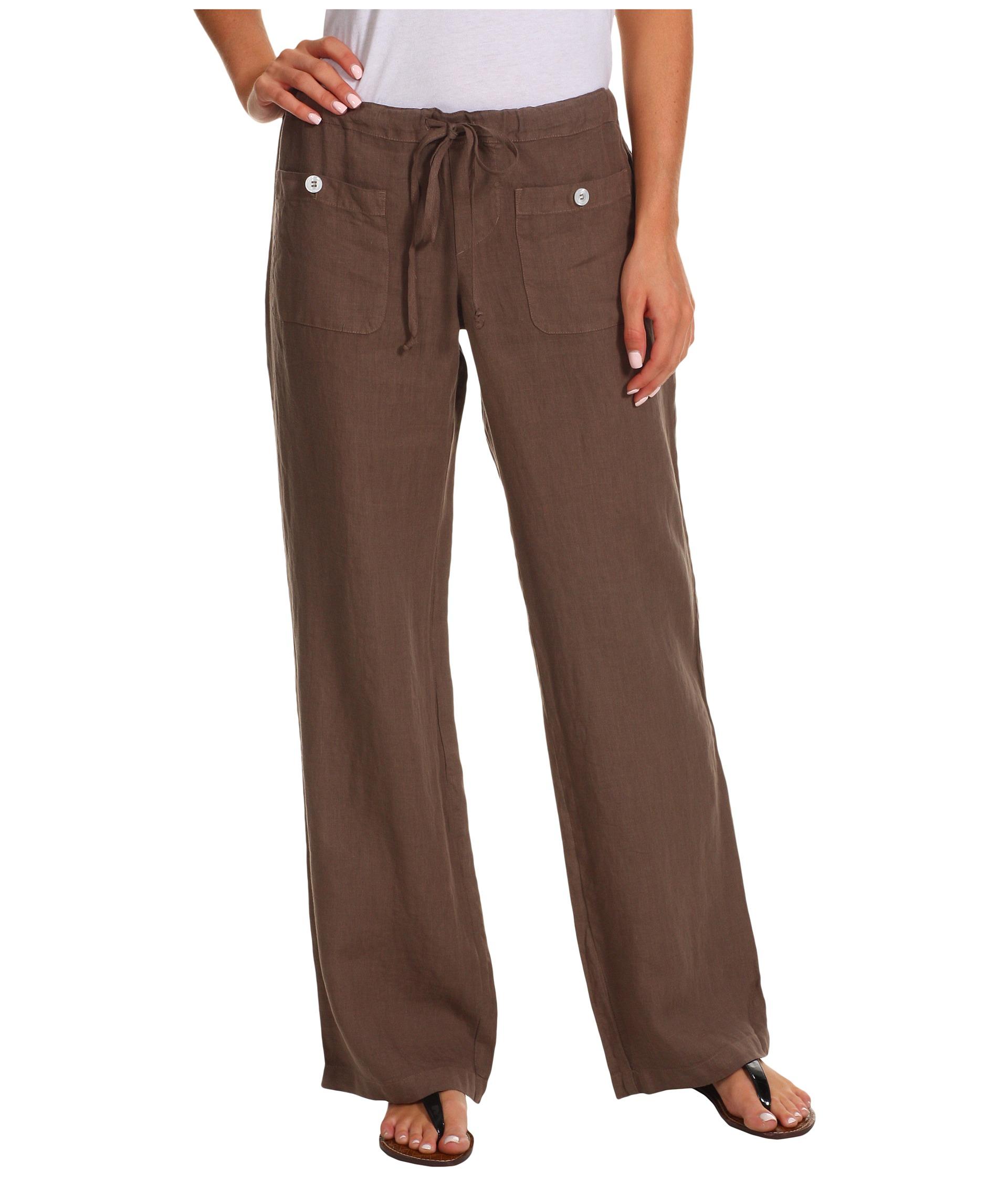 Allen Allen Linen Long Pant Ll9497 In Brown Mushroom Lyst