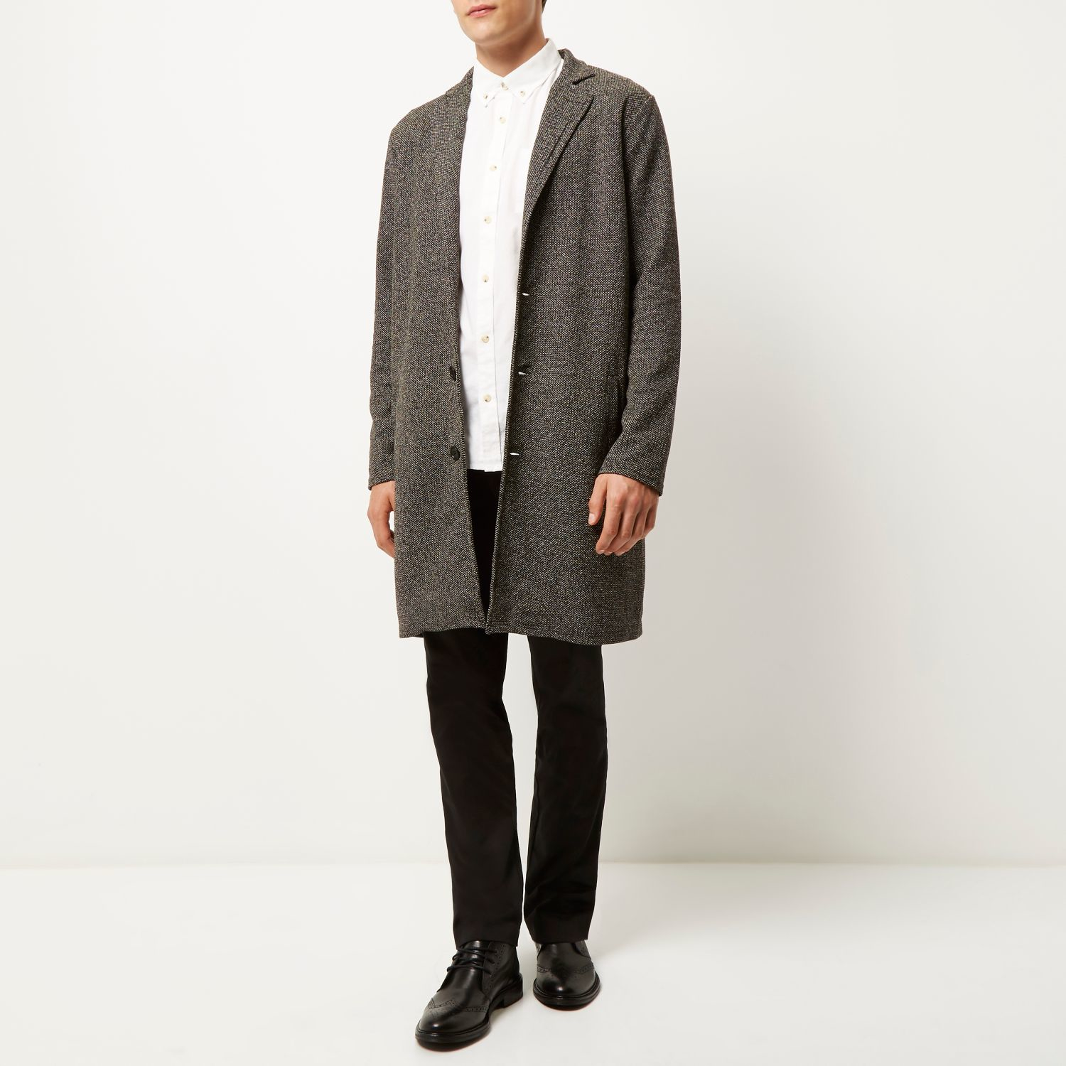 River island Black Knitted Duster Coat in Gray for Men | Lyst