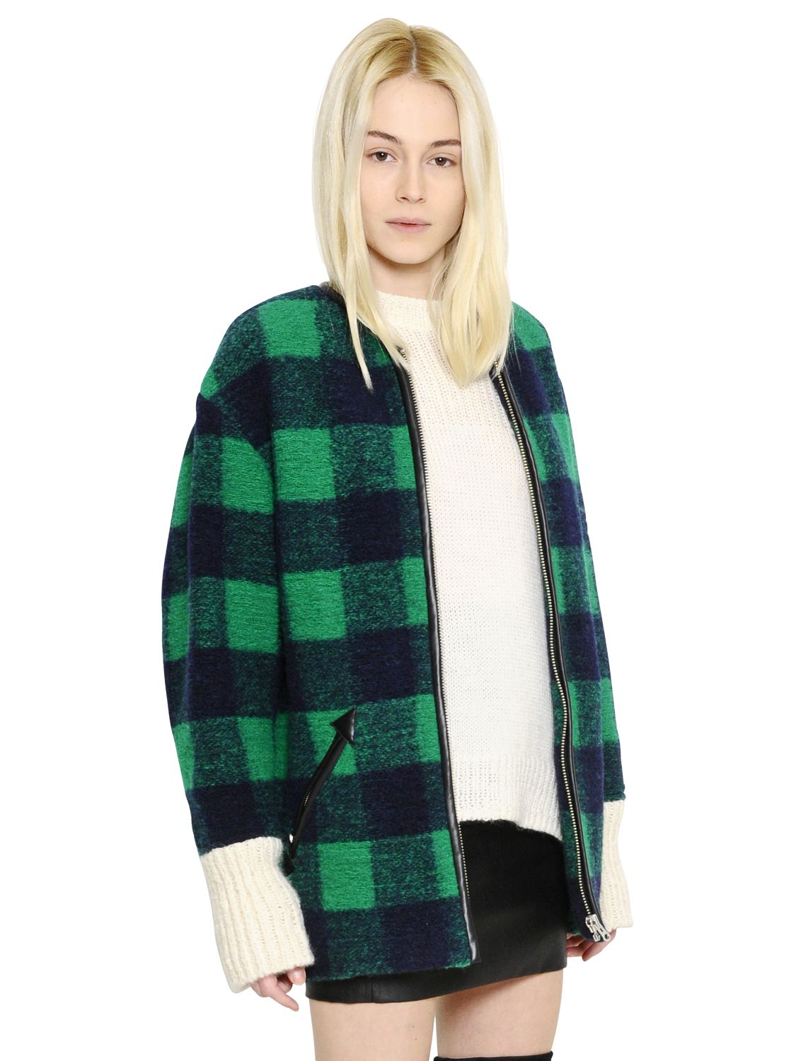 Étoile Isabel Marant Checked Boiled Wool Blend Coat in Green (GREEN/BLUE) | Lyst