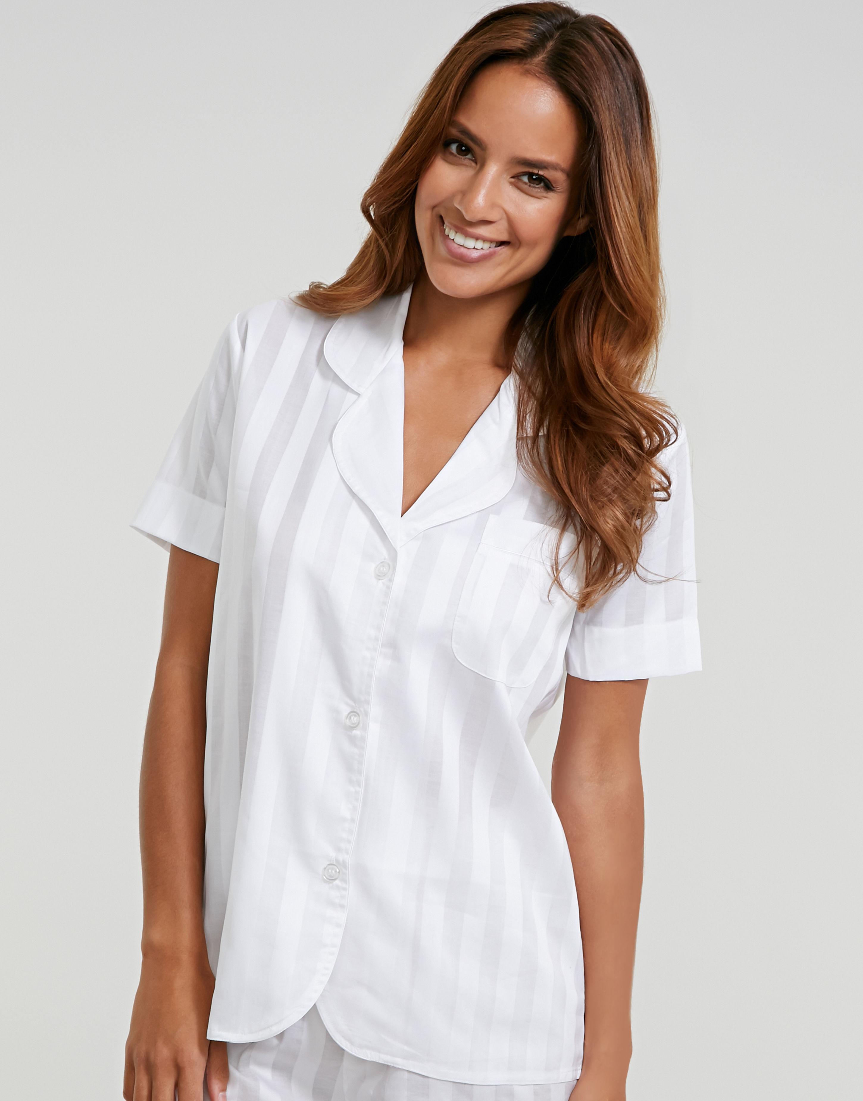 e5adb8cbe6 Bodas Cotton Nightwear Short Sleeve Pj Top in White - Lyst