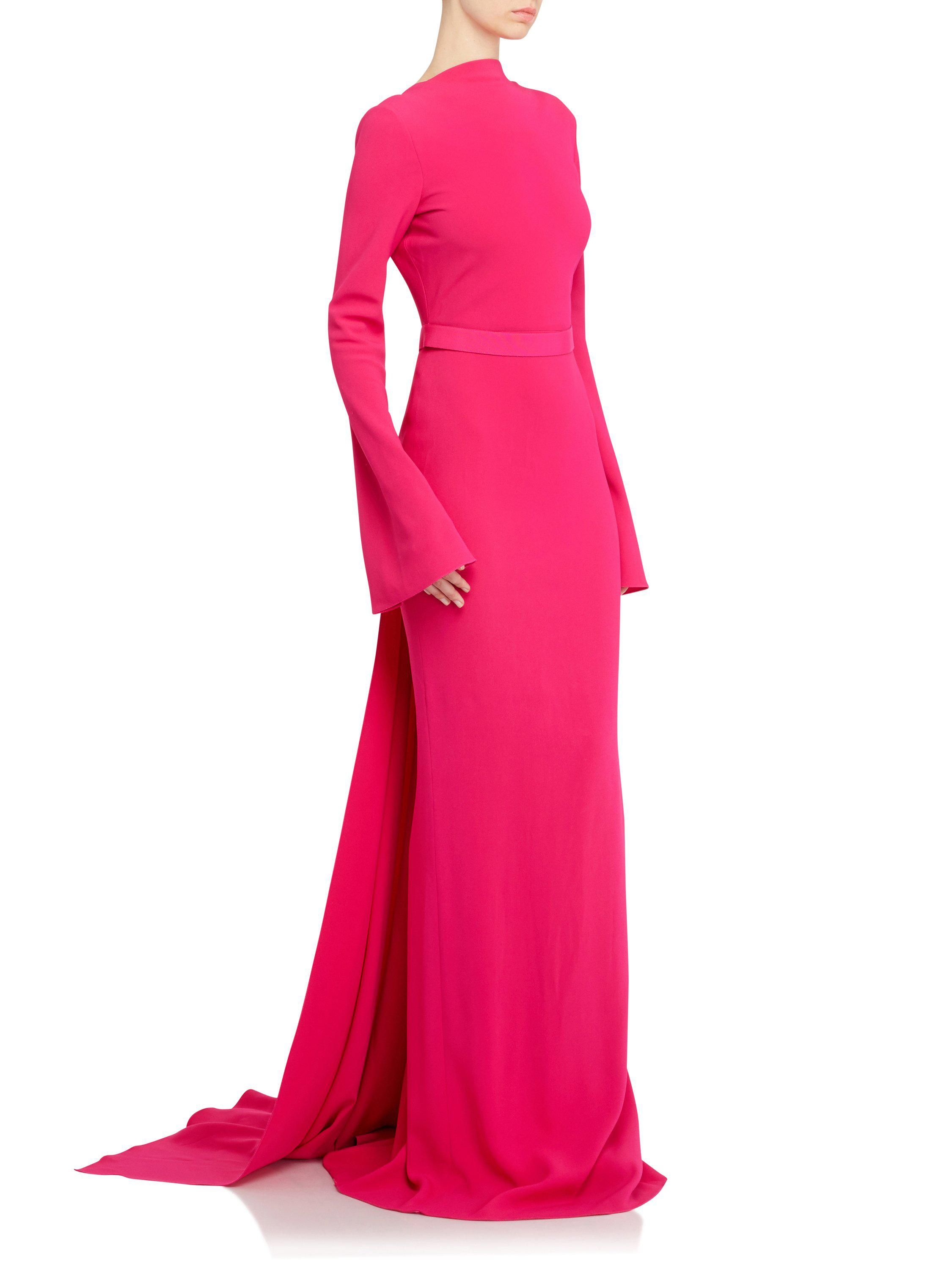 3c14795af76a8 Brandon Maxwell Waterfall Back Gown In Fuscia in Pink - Lyst