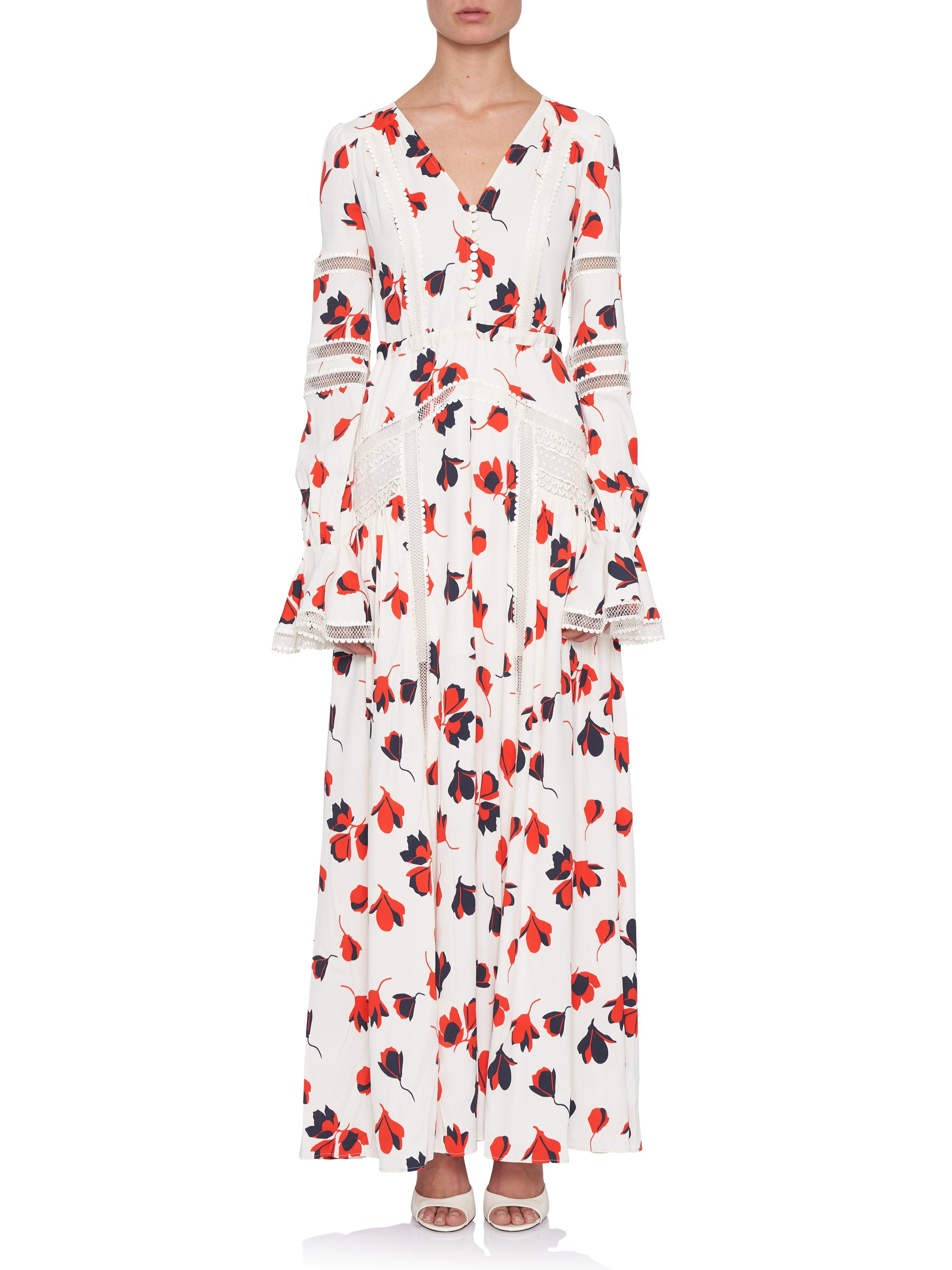 ed0e410c81c1 Self-Portrait Bold Floral Print Maxi Dress in Red - Lyst