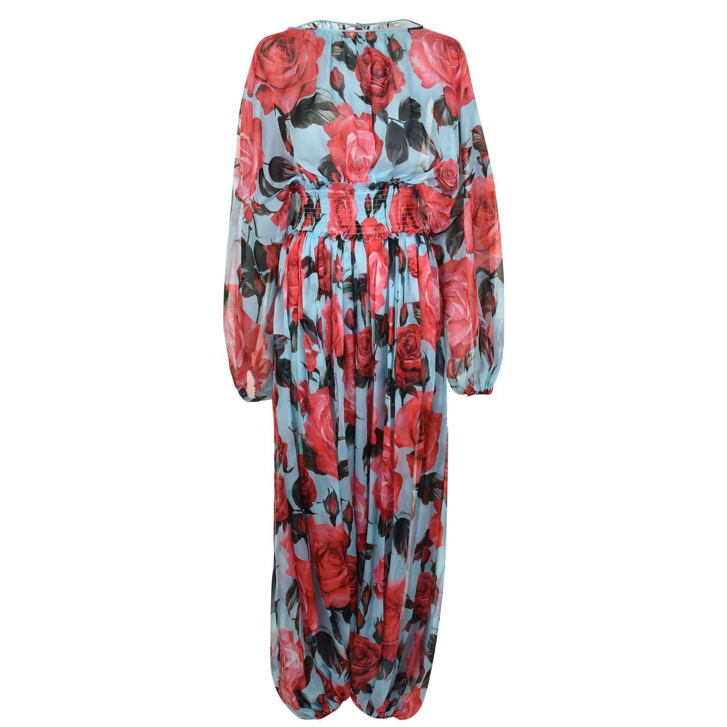f62b49d9b4 Lyst - Dolce   Gabbana Rose Elasticated Jumpsuit in Red