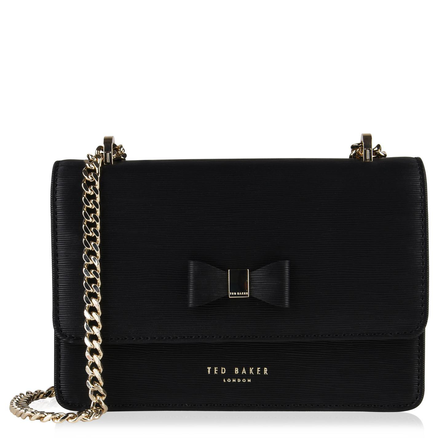 bbb534f16 Lyst - Ted Baker Bow Leather Cross Body Bag in Black
