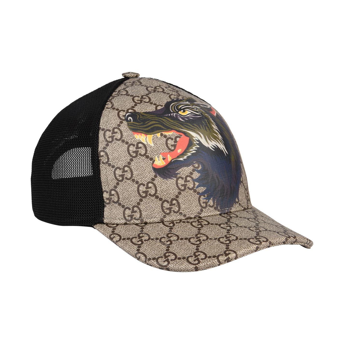 ... beauty b170a 93f45 Lyst - Gucci Gg Supreme Wolf Cap in Black for Men ... 25176df5909e