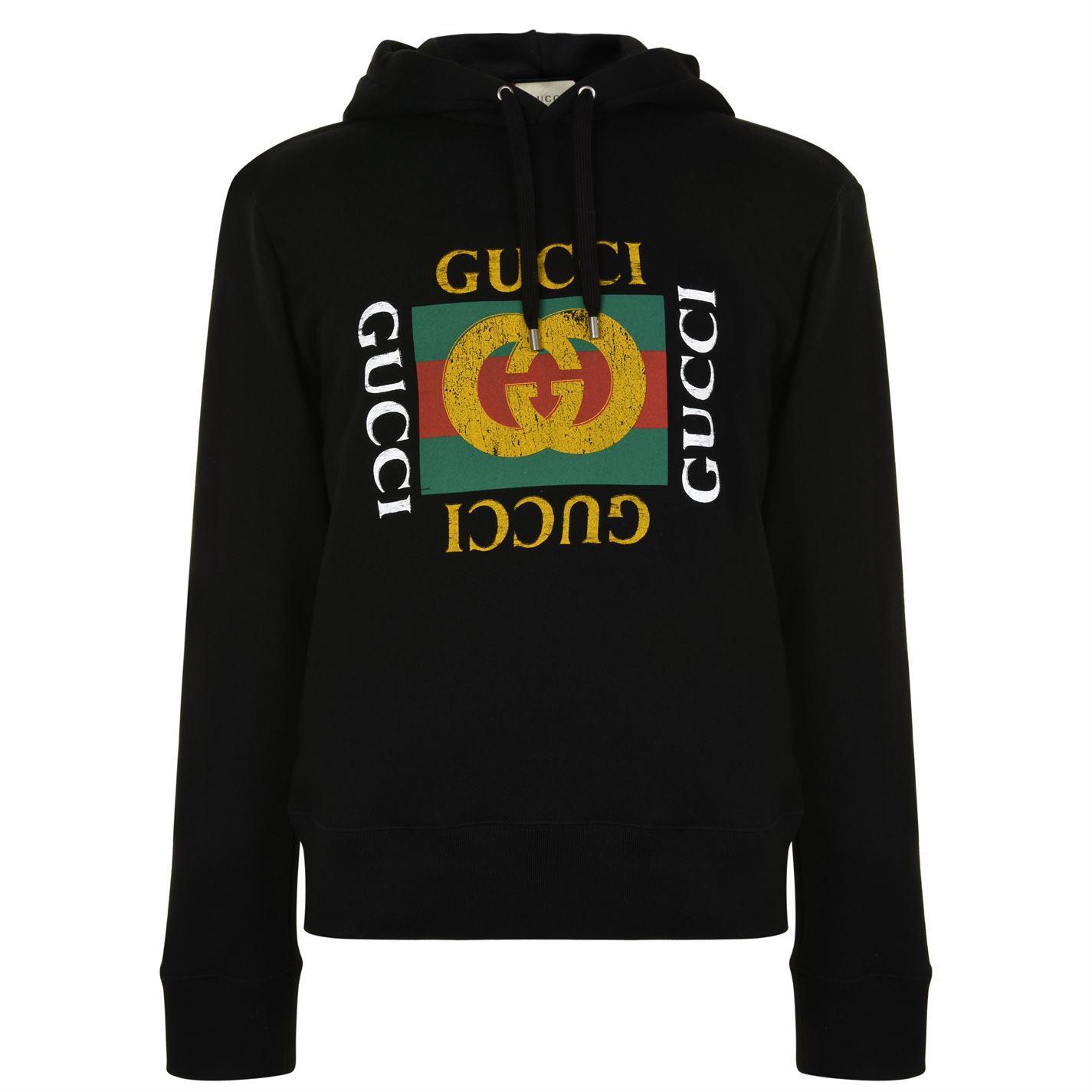 71415a3780dd Gucci Fake Logo Hooded Sweatshirt in Black for Men - Lyst