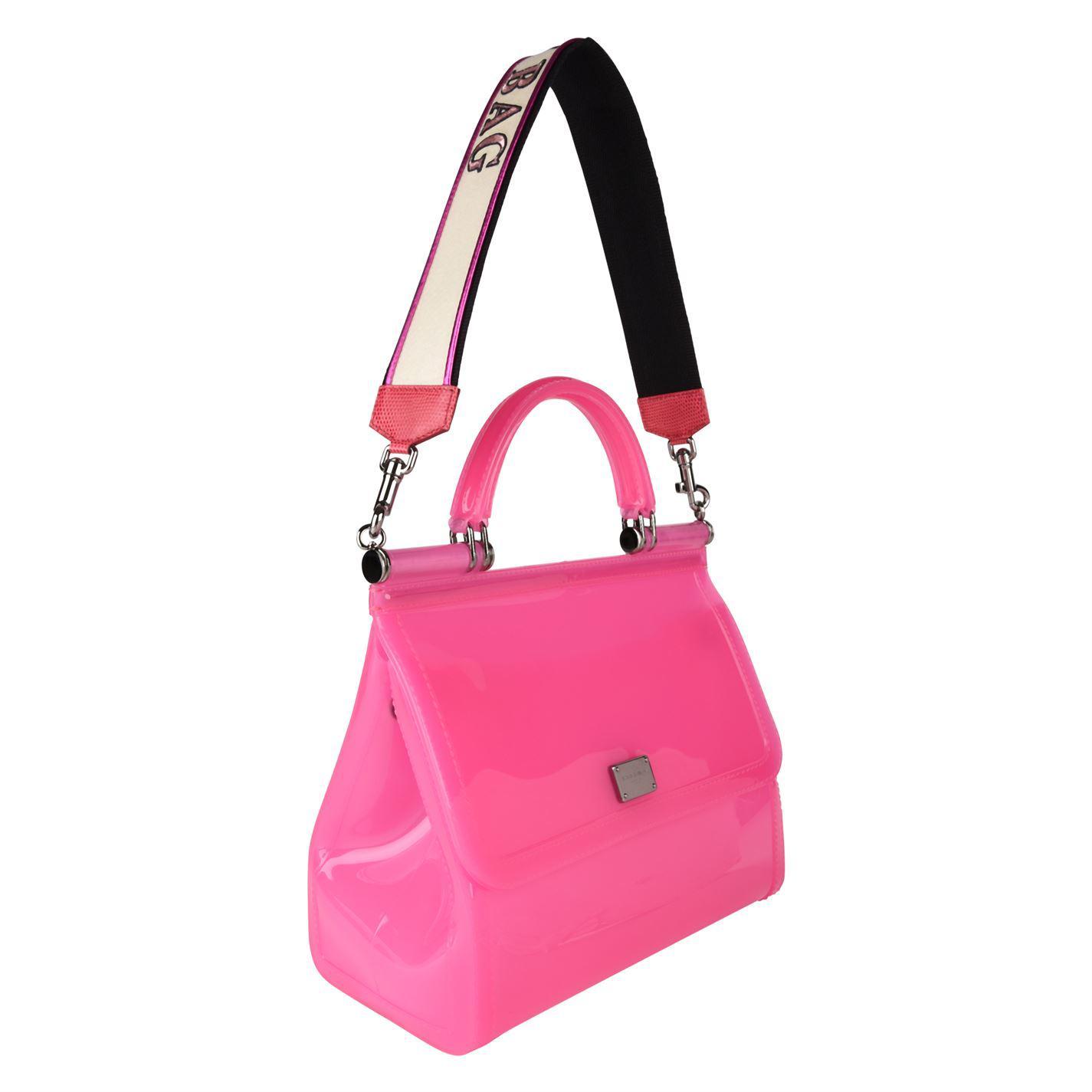 e80a320442 Lyst - Dolce   Gabbana Sicily Semi Transparent Rubber Bag in Pink