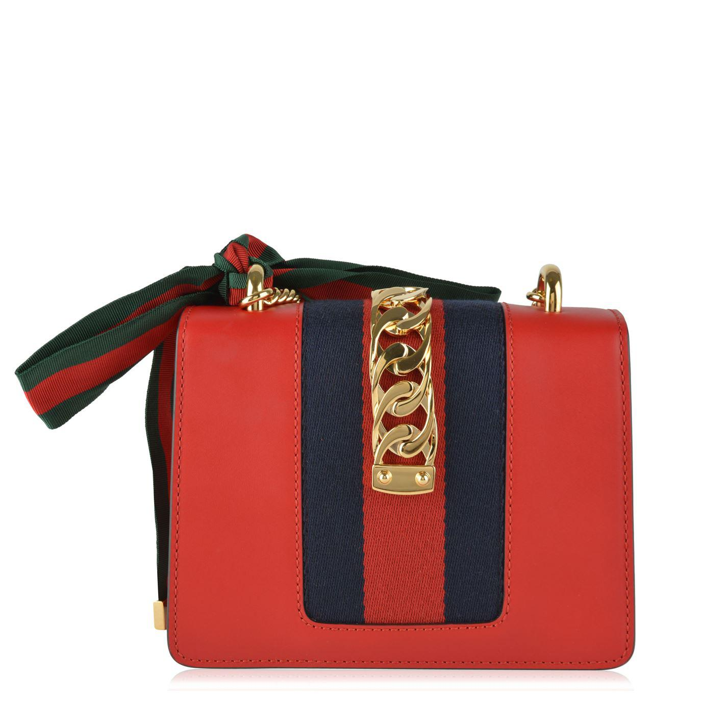 a38971c12c14a Gucci - Red Mini Sylvie Leather Shoulder Bag - Lyst. View fullscreen
