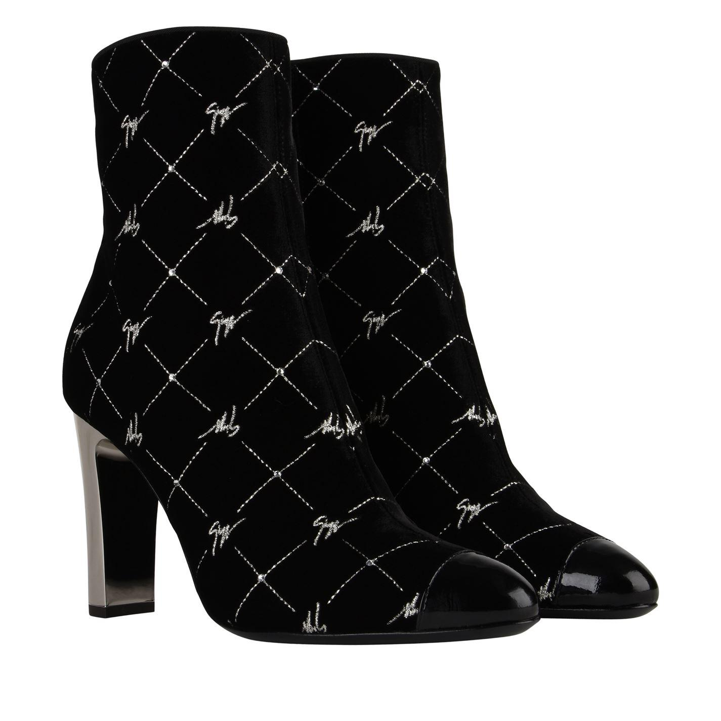 8338106aa82ddb Lyst - Giuseppe Zanotti Signature Velvet Heeled Boots in Black