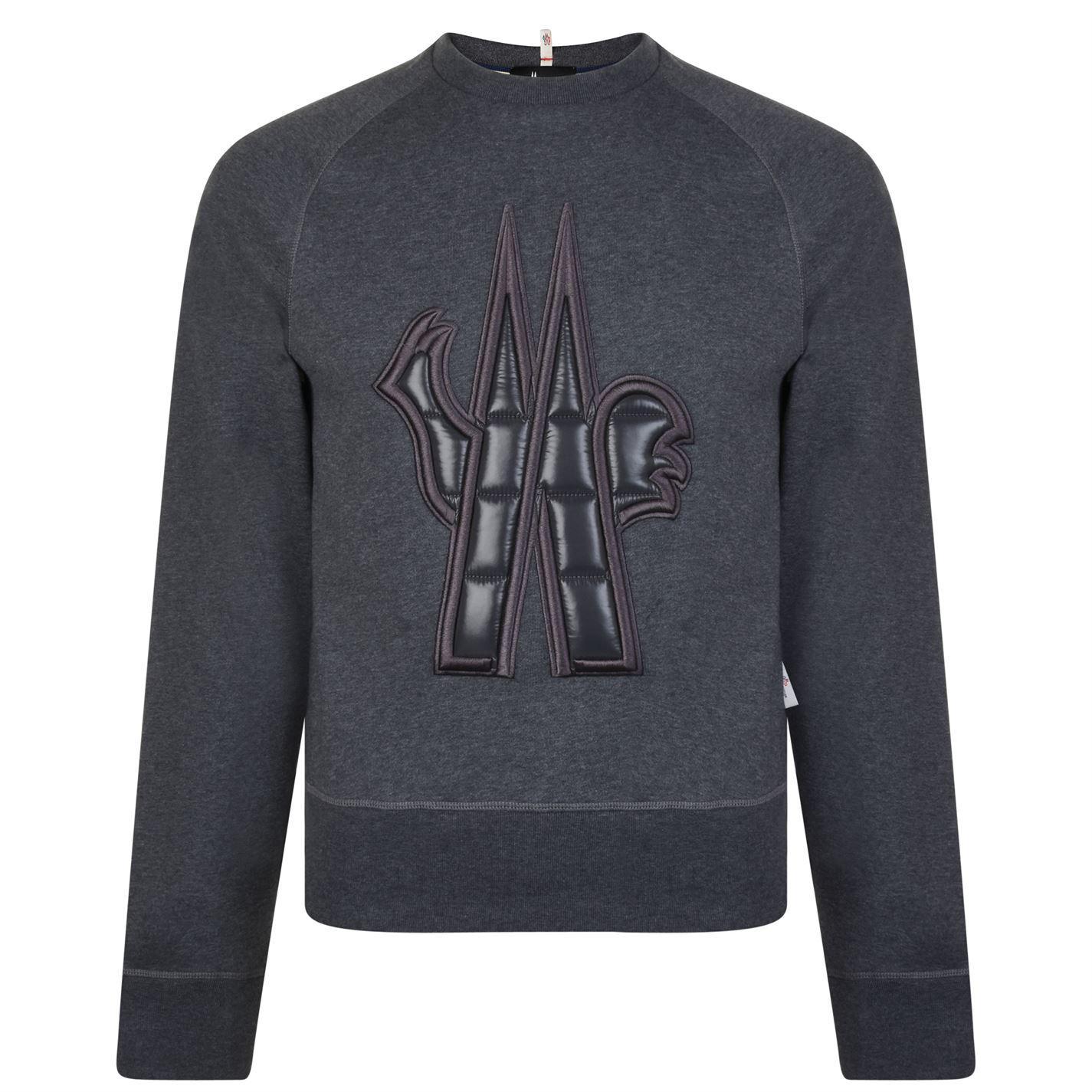 a43ee945203d Moncler Grenoble Crew Logo Sweatshirt in Gray for Men - Lyst