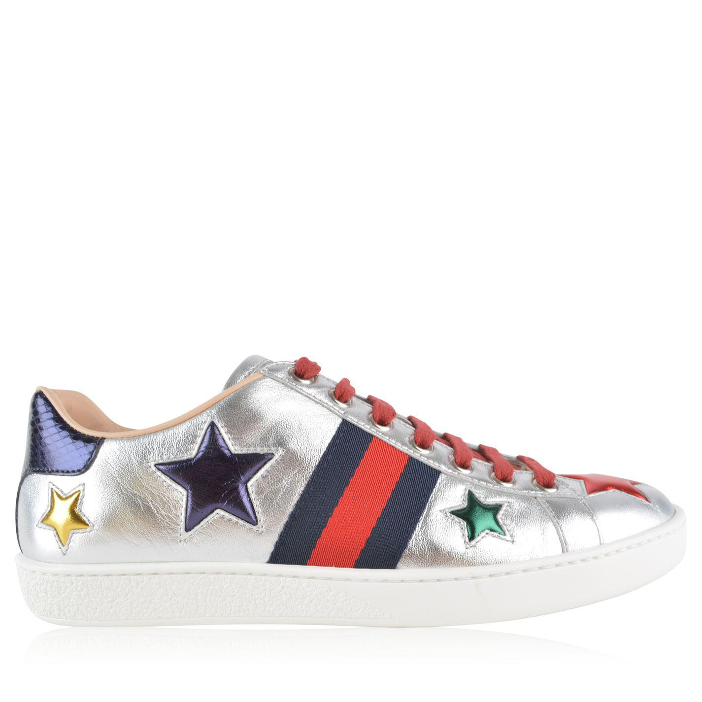 cafd0ff1368 Lyst - Gucci New Ace Star Patch Trainers in Metallic