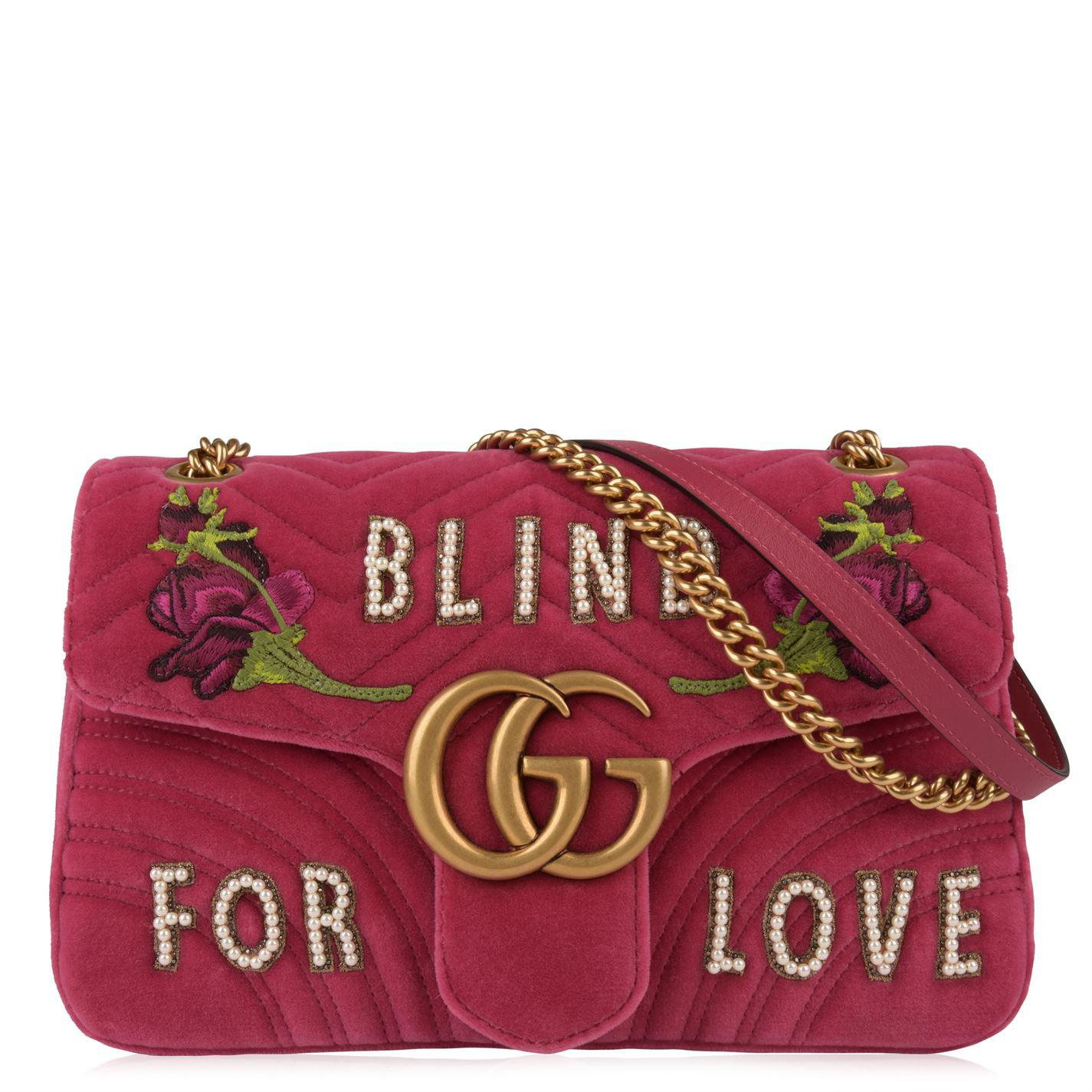 15f2a4a4e42e Gucci Blind For Love Marmont Shoulder Bag in Pink - Lyst