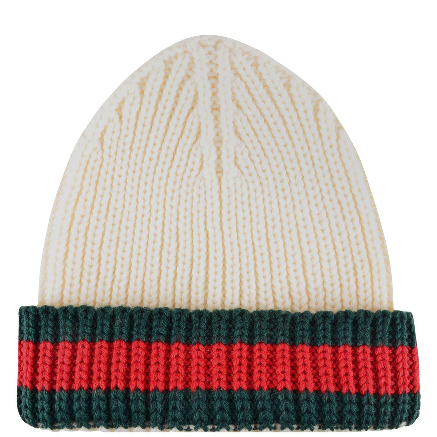 e1680b46cc6 Lyst - Gucci Web Trim Beanie Hat in White for Men