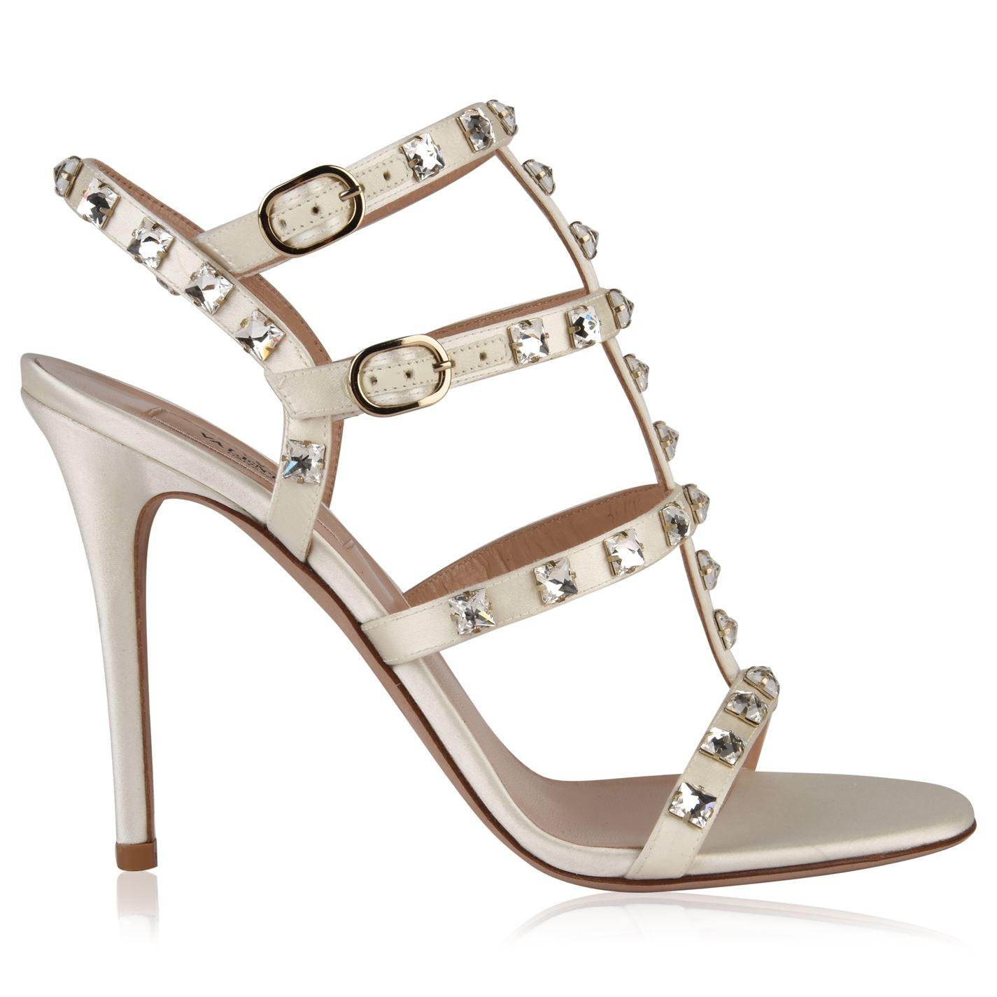 e6537daad81 Lyst - Valentino Rockstud Crystal Heeled Sandals in White