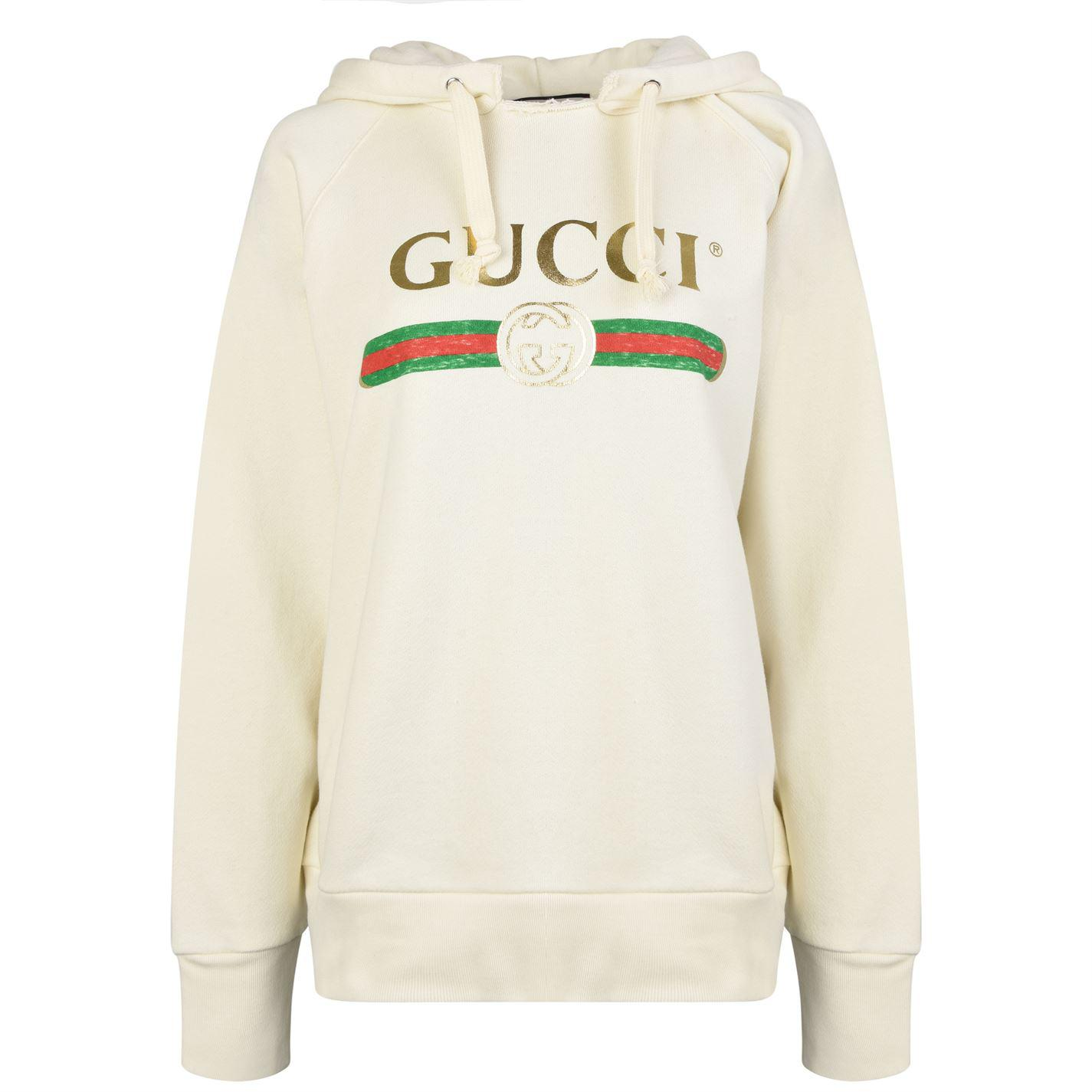 28225c04933 Gucci Embroidered Fake Logo Hooded Sweatshirt in White - Lyst