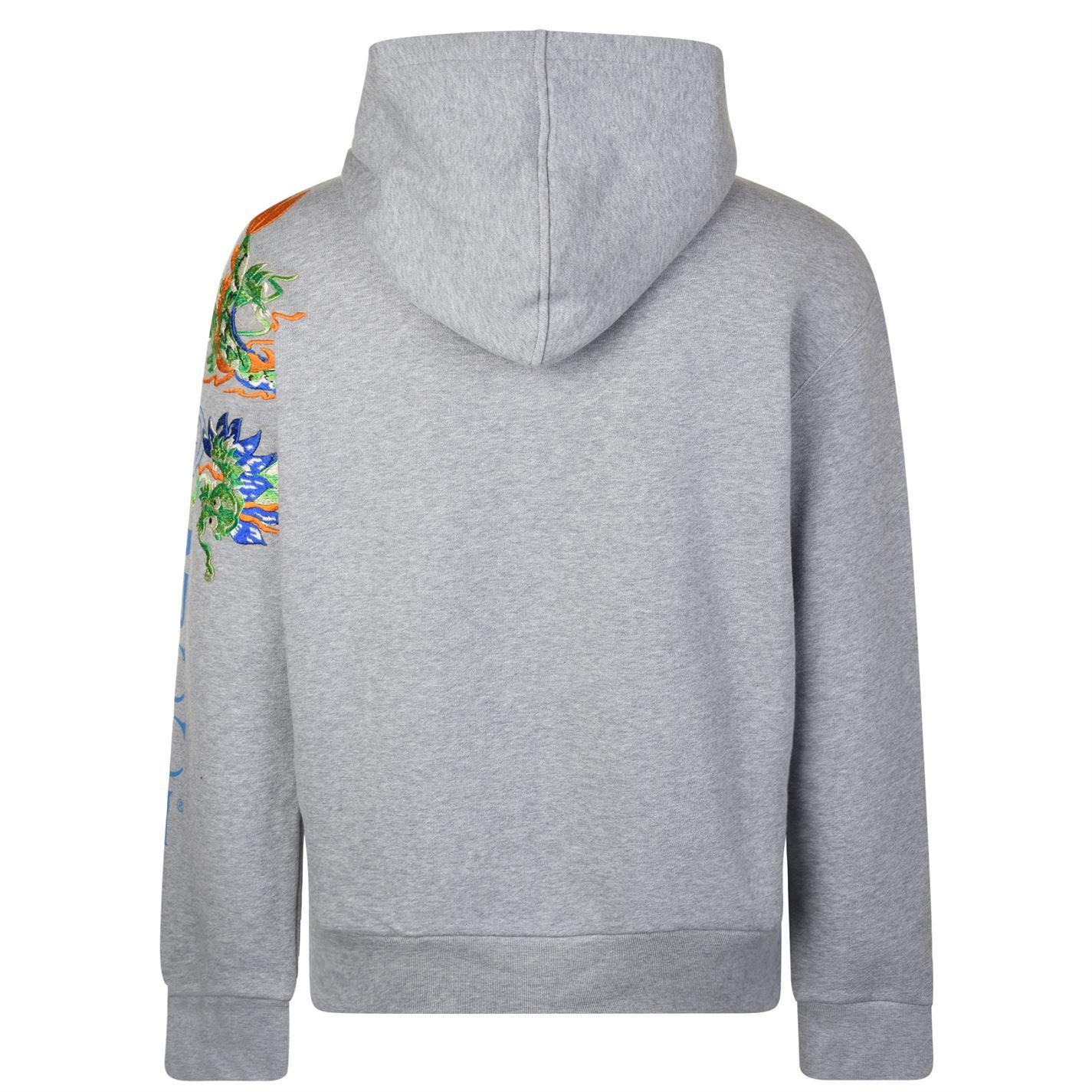 3dc3370ed Gucci - Gray Fake Logo Embroidered Hooded Sweatshirt for Men - Lyst. View  fullscreen