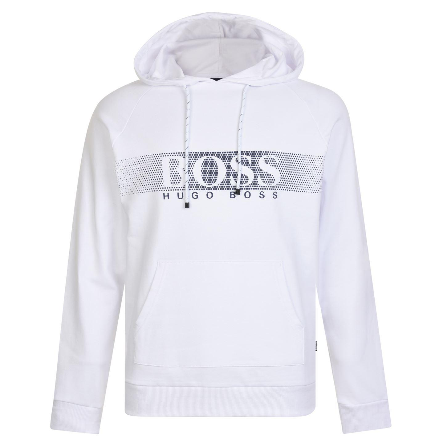 6a189a702 BOSS by Hugo Boss Over The Head Logo Sweatshirt in White for Men - Lyst