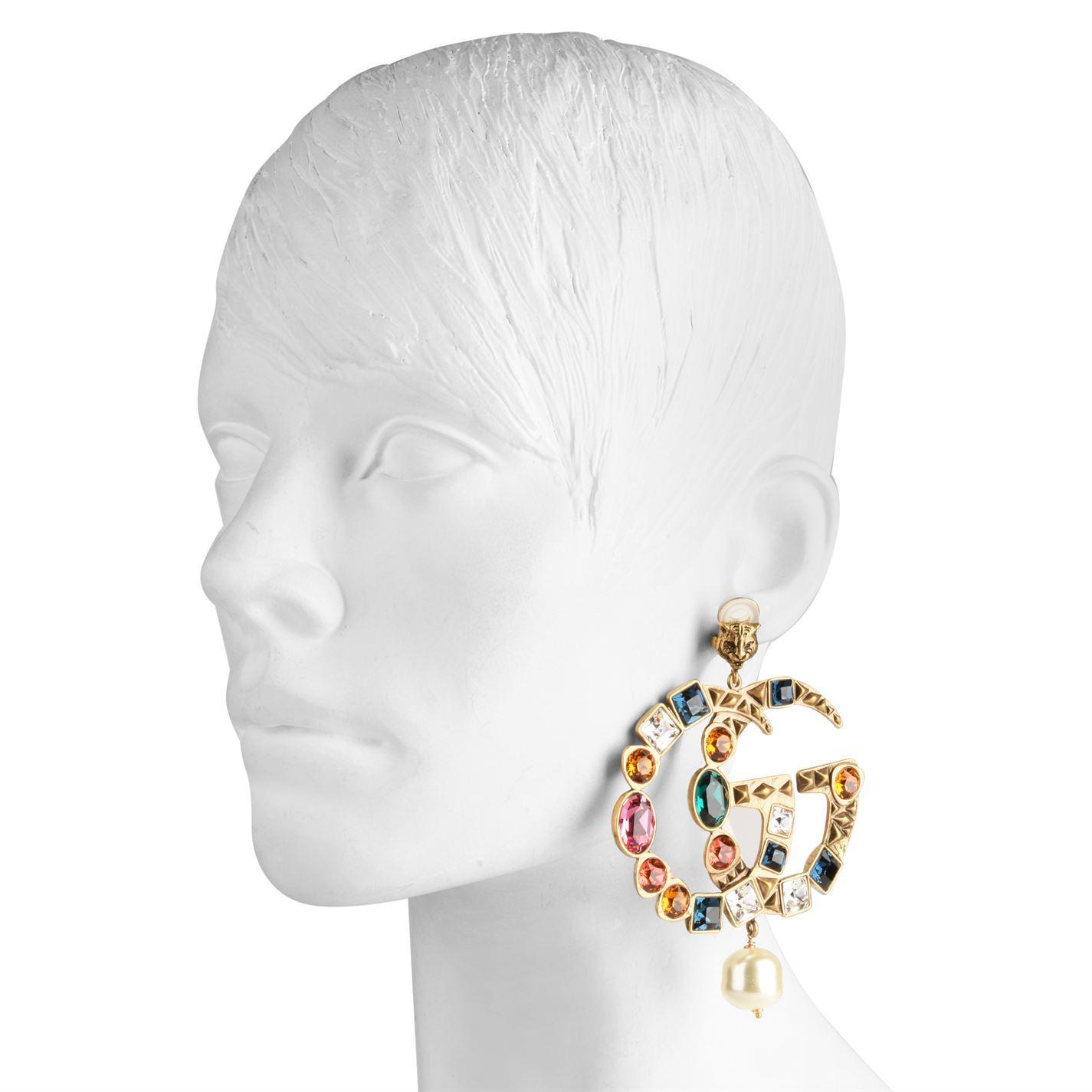 176100f59a1 Gucci - Metallic Crystal Gg Earrings - Lyst. View fullscreen