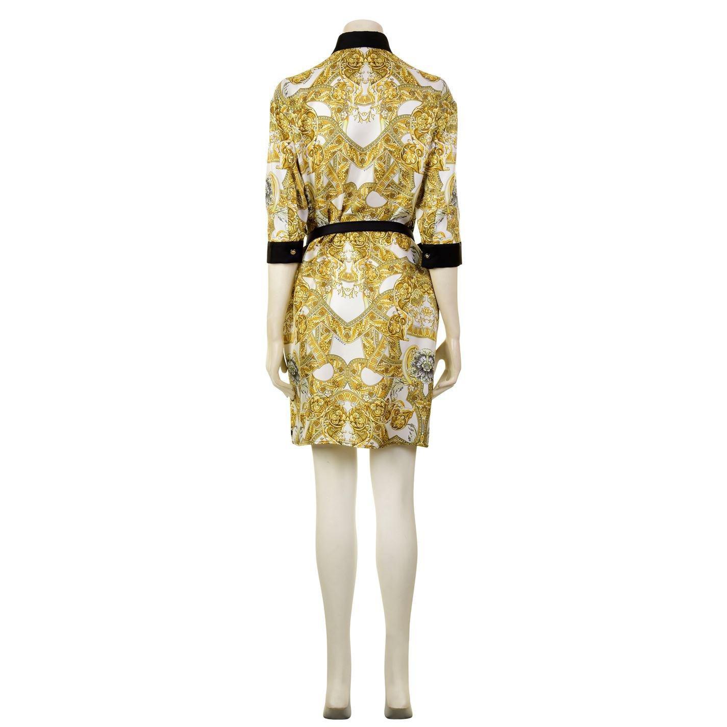 96d579520b9cbe Lyst - Versace Barocco Istante Silk Shirt Dress in Black